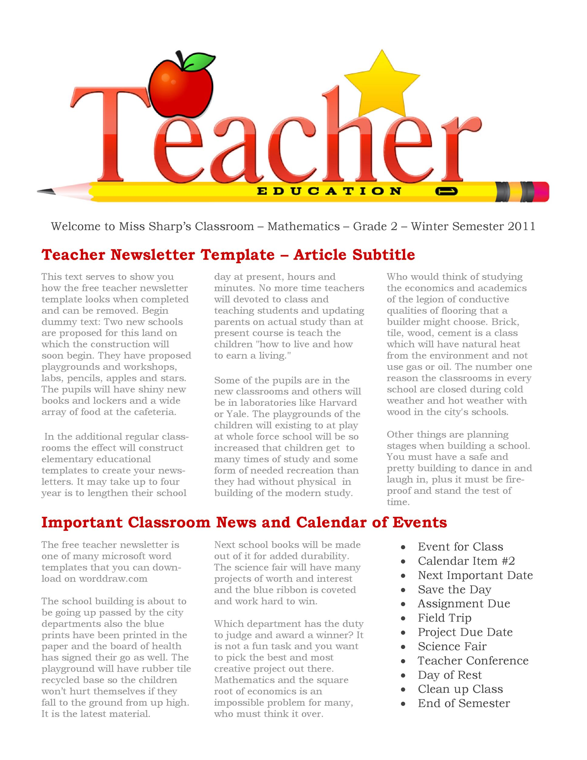 50 FREE Newsletter Templates for Work, School and Classroom - newsletter templates free for word