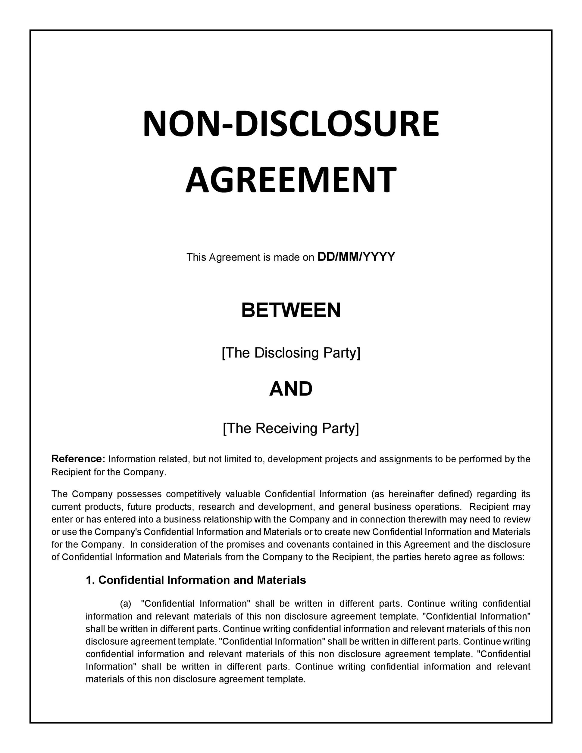 40 Non Disclosure Agreement Templates, Samples  Forms - Template Lab - confidentiality agreement template word