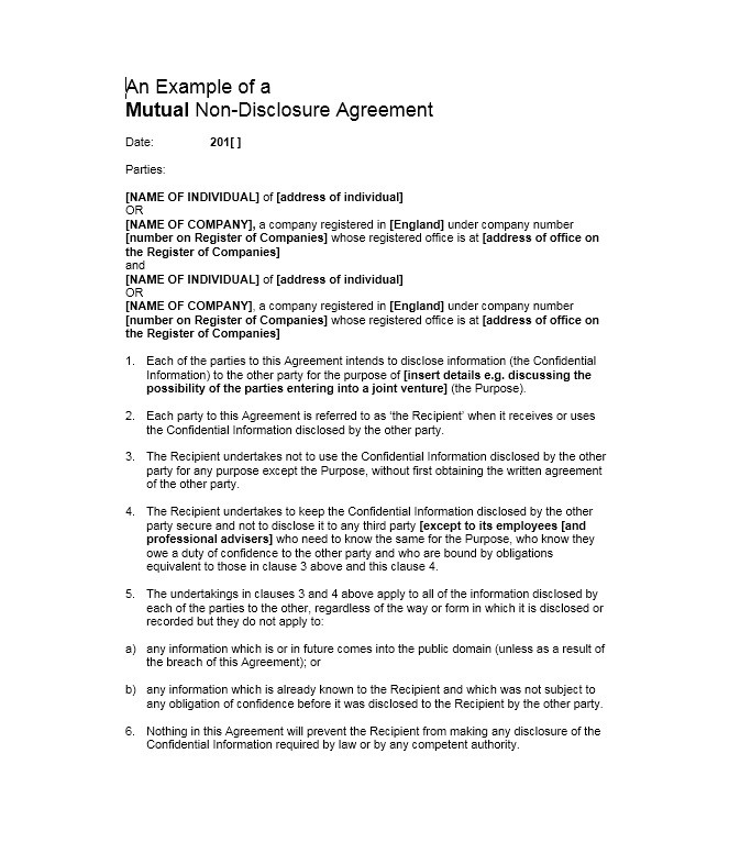 40 Non Disclosure Agreement Templates, Samples  Forms - Template Lab - free non disclosure agreement form