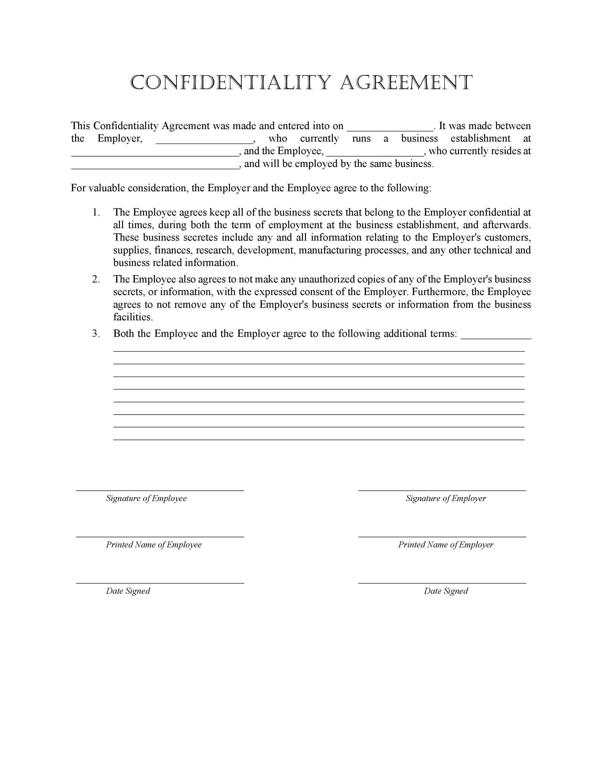 40 Non Disclosure Agreement Templates, Samples  Forms - Template Lab - confidentiality agreement template