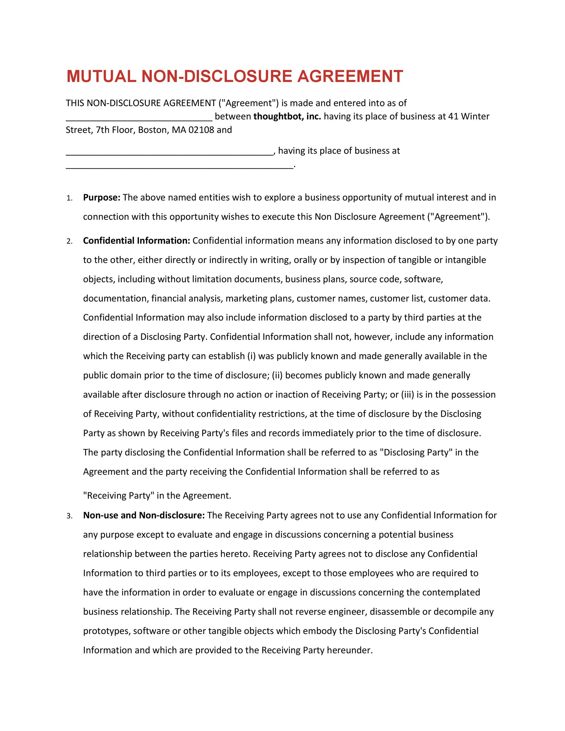 40 Non Disclosure Agreement Templates, Samples  Forms - Template Lab - business non disclosure agreement