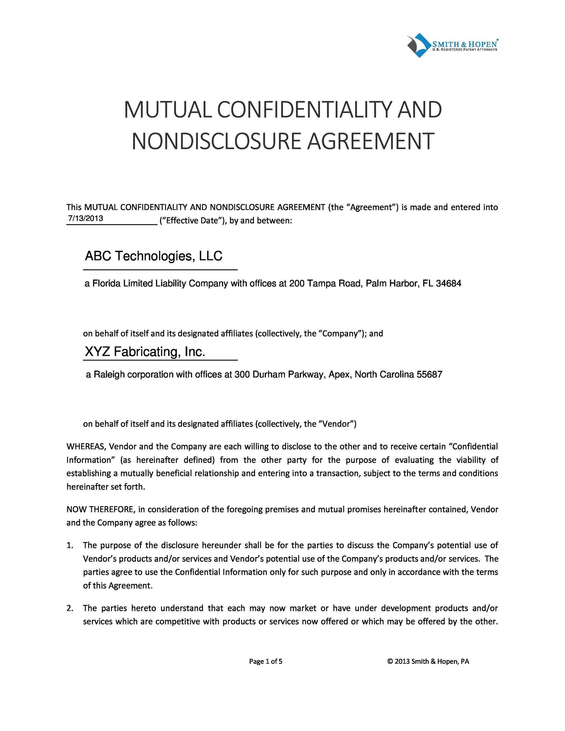 40 Non Disclosure Agreement Templates, Samples  Forms - Template Lab
