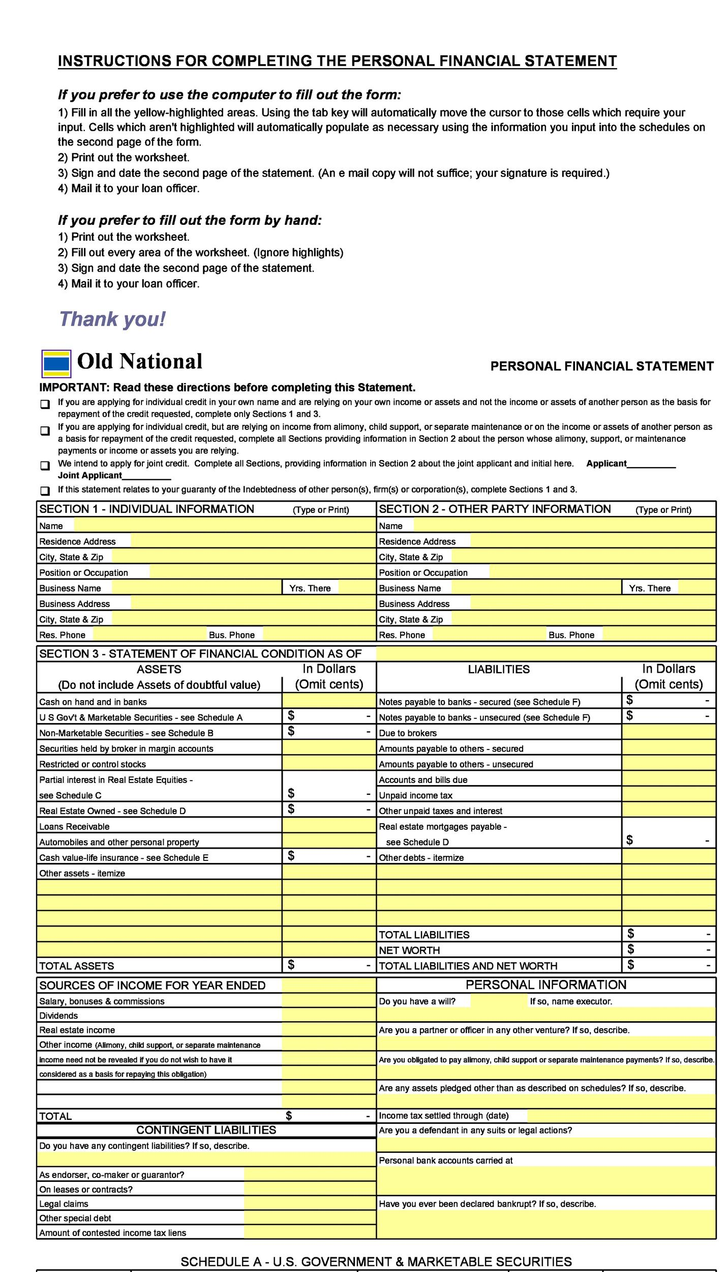 40+ Personal Financial Statement Templates  Forms ᐅ Template Lab