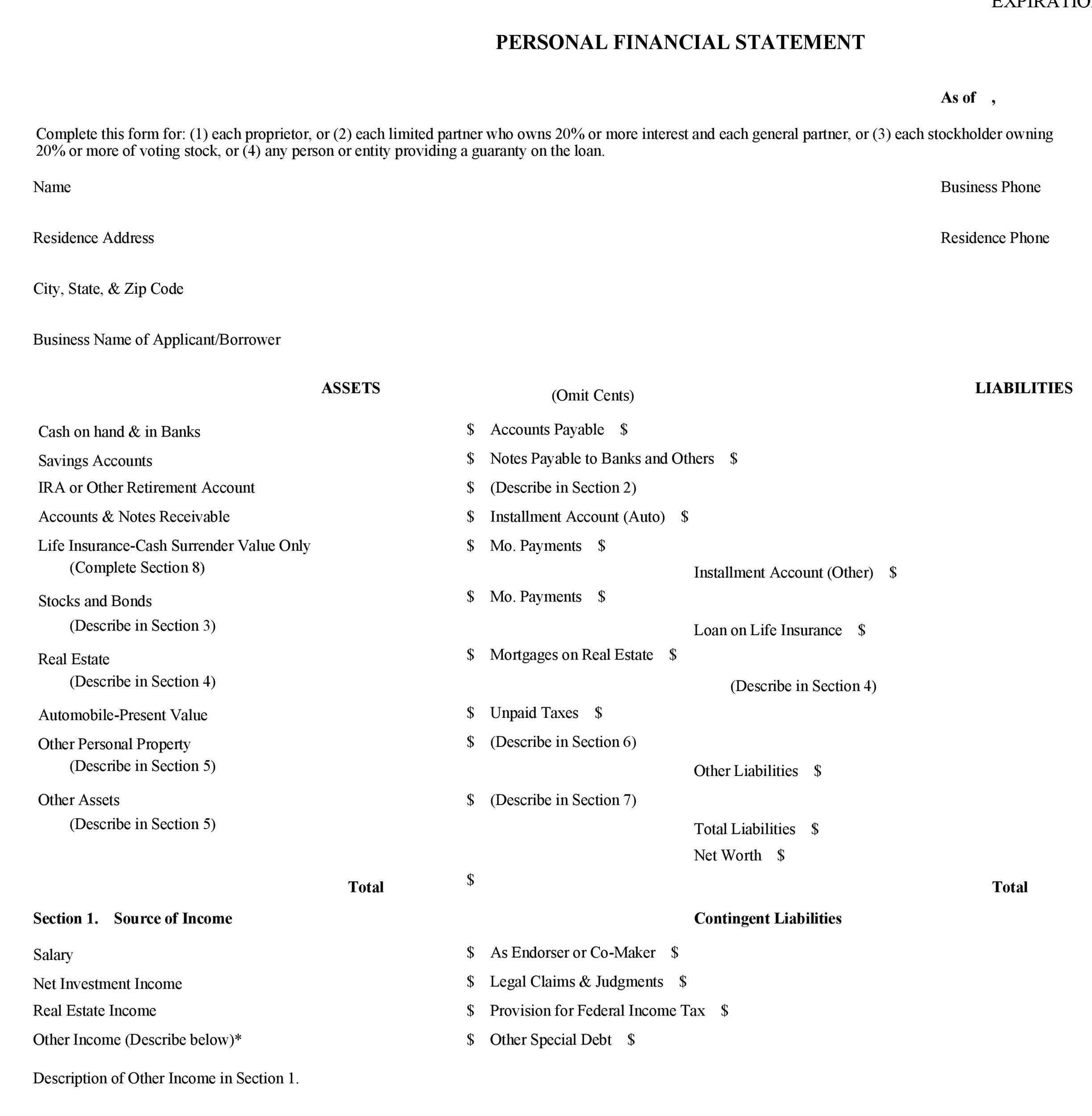 40+ Personal Financial Statement Templates  Forms - Template Lab - net worth form