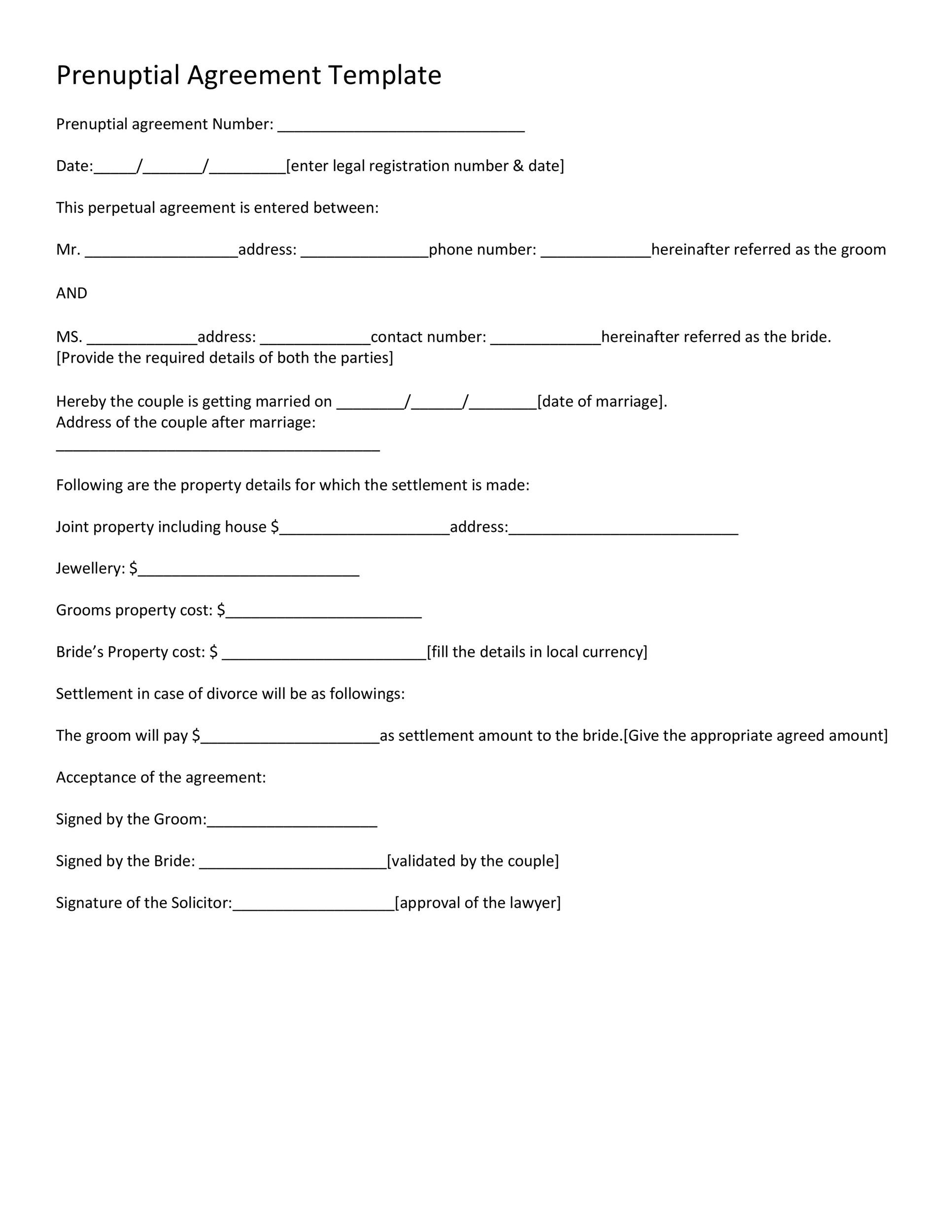 30+ Prenuptial Agreement Samples  Forms ᐅ Template Lab