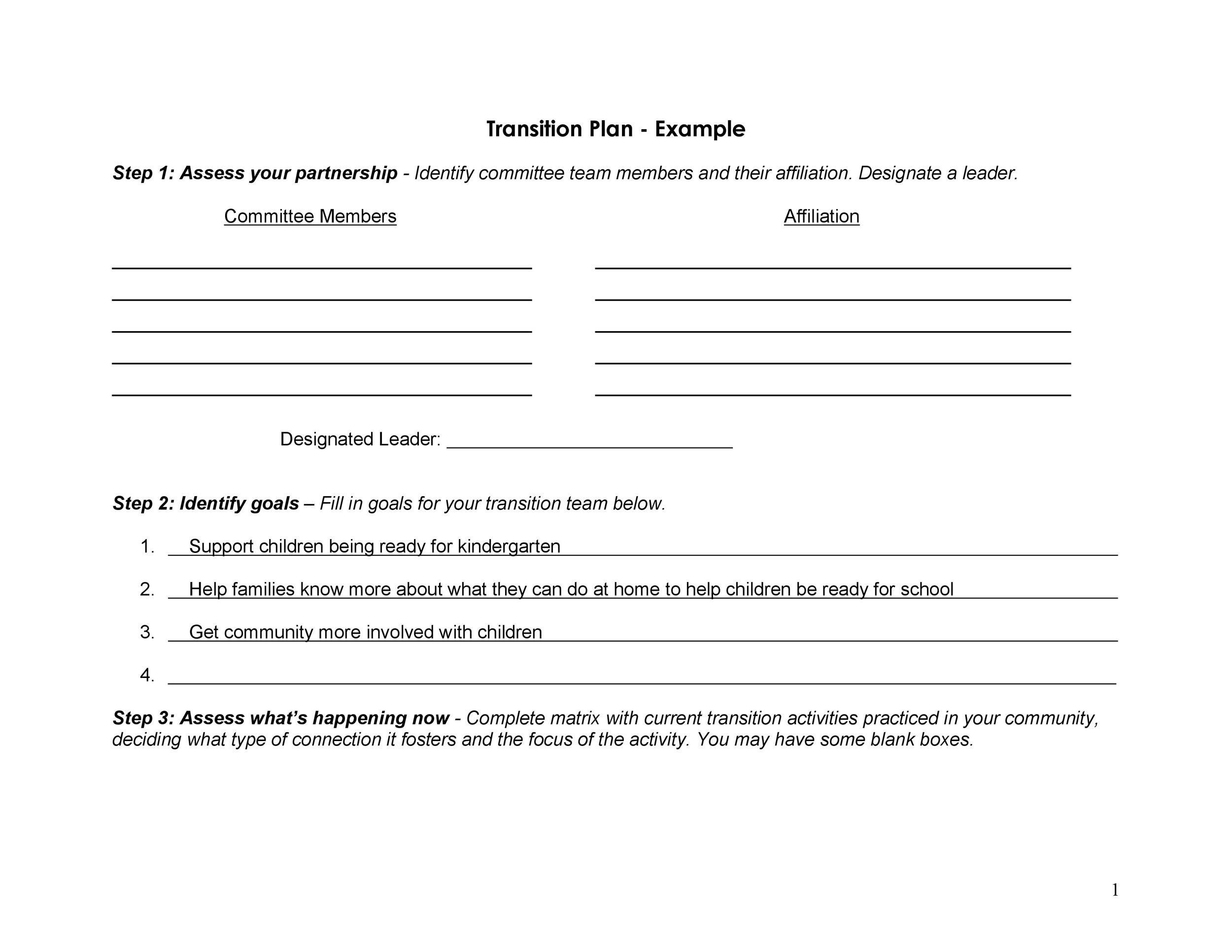 40+ Transition Plan Templates (Career, Individual) - Template Lab