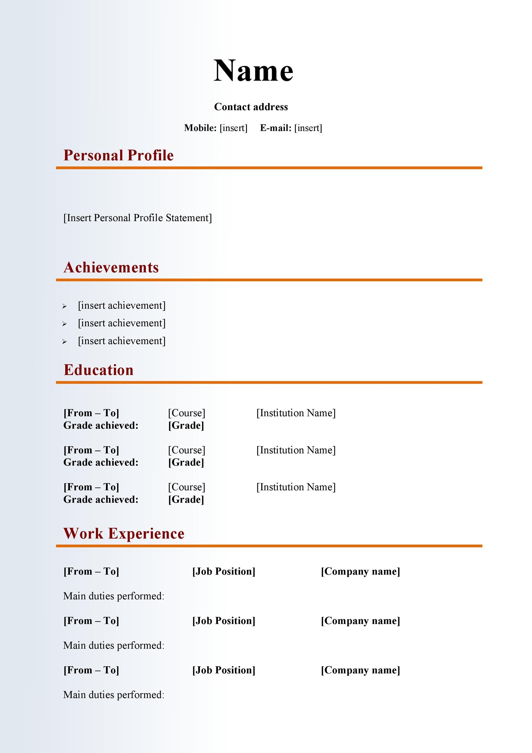 Do I Need To Put All Past Work Experience On A Resume 48 Great Curriculum Vitae Templates And Examples Template Lab