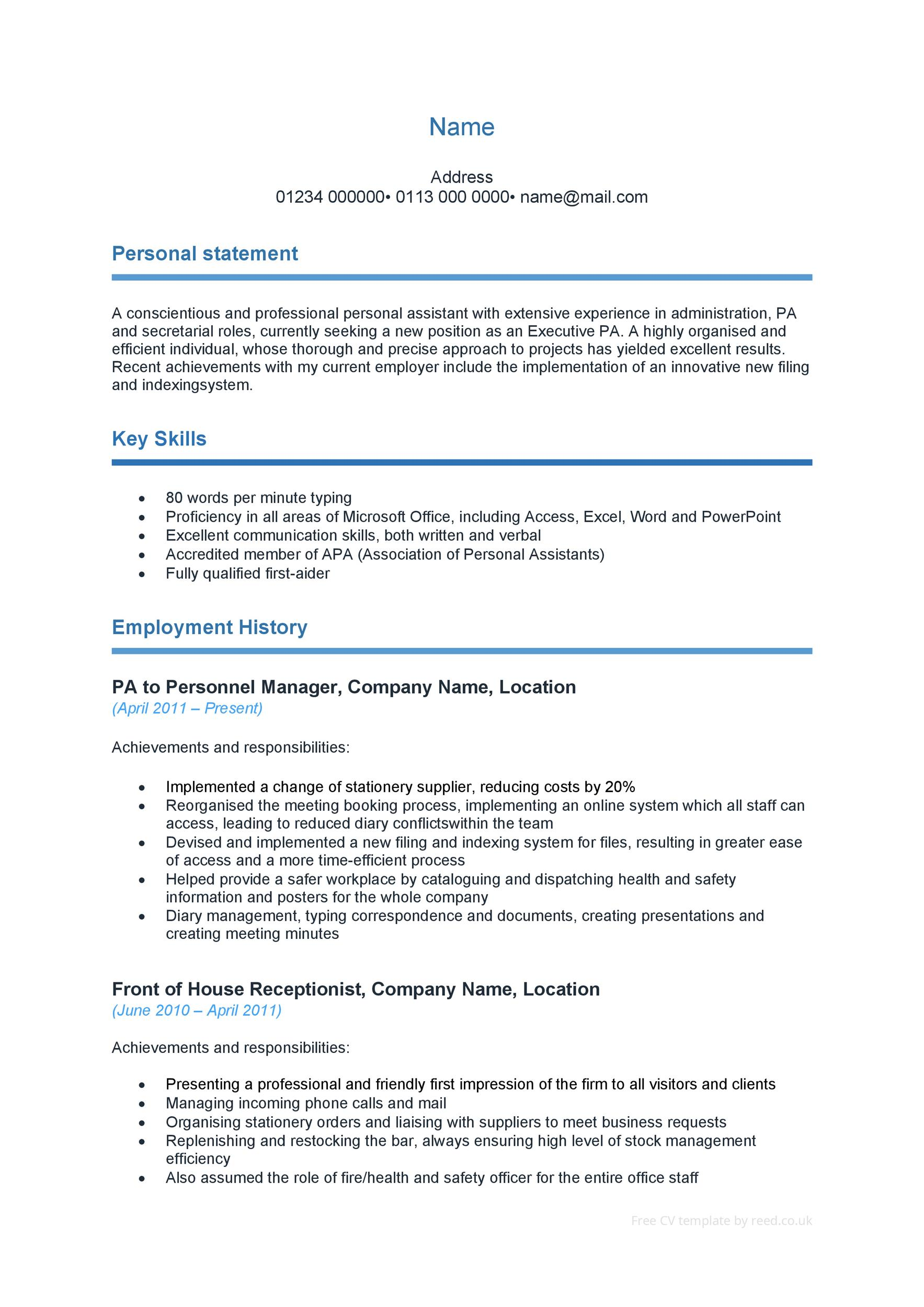 Careerperfectr Resume Writing Help Sample Resumes 48 Great Curriculum Vitae Templates And Examples Template Lab
