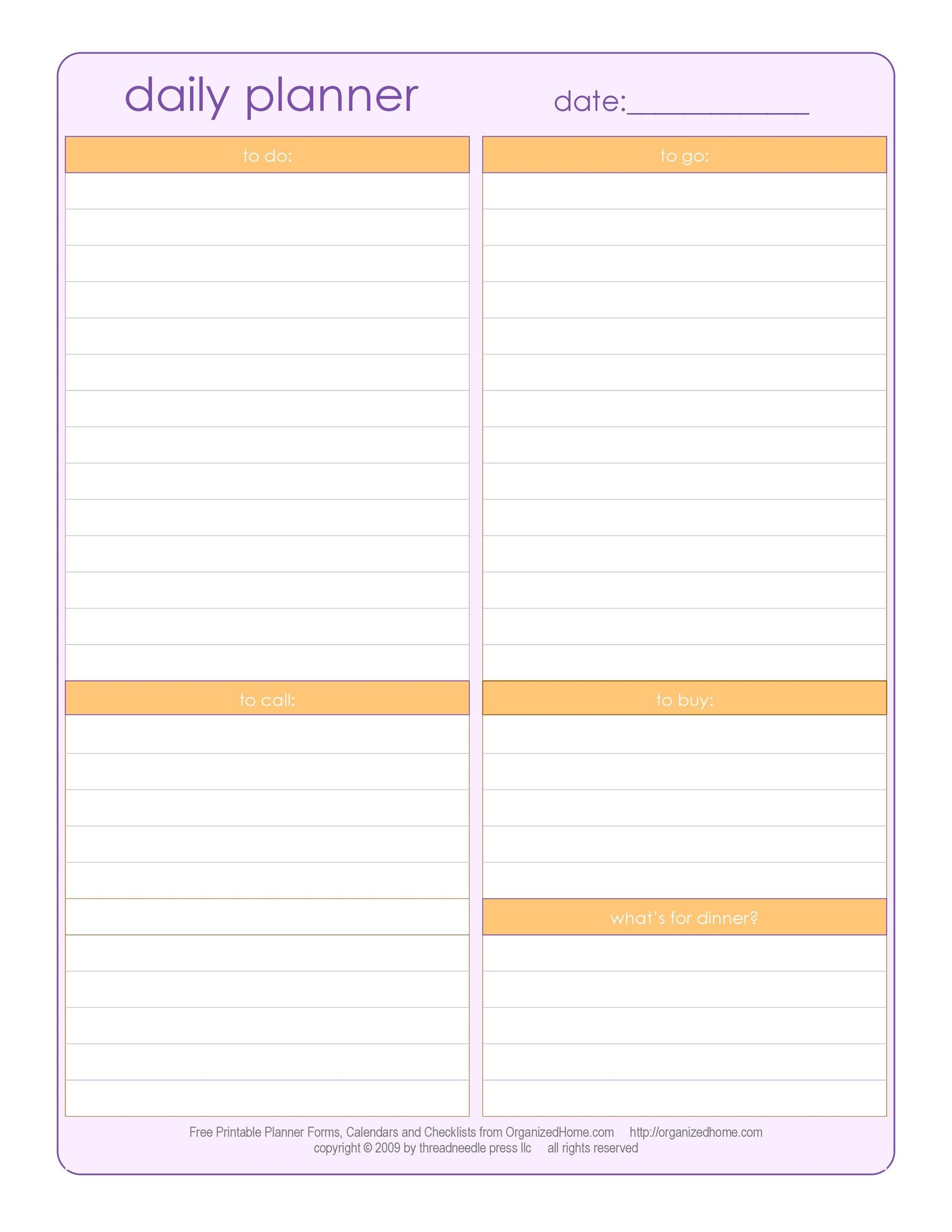 daily planner download