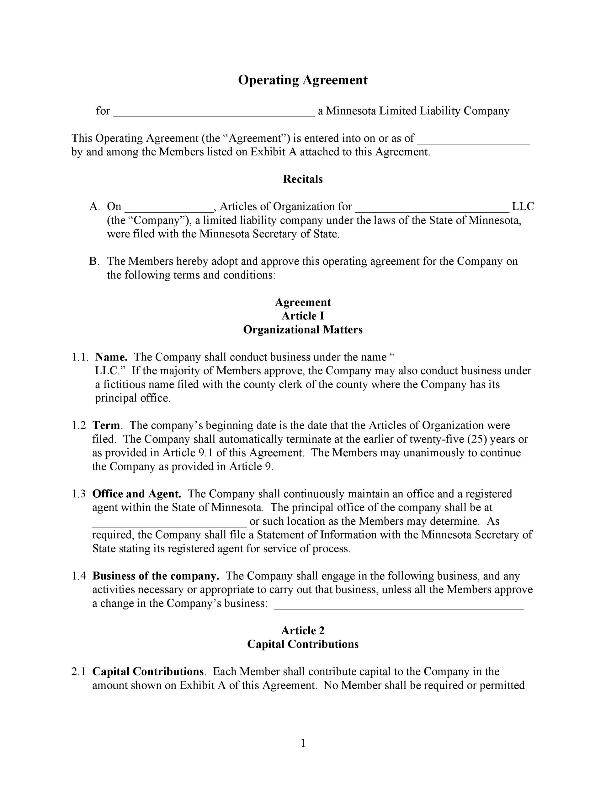 30 Professional LLC Operating Agreement Templates - Template Lab - business operating agreement