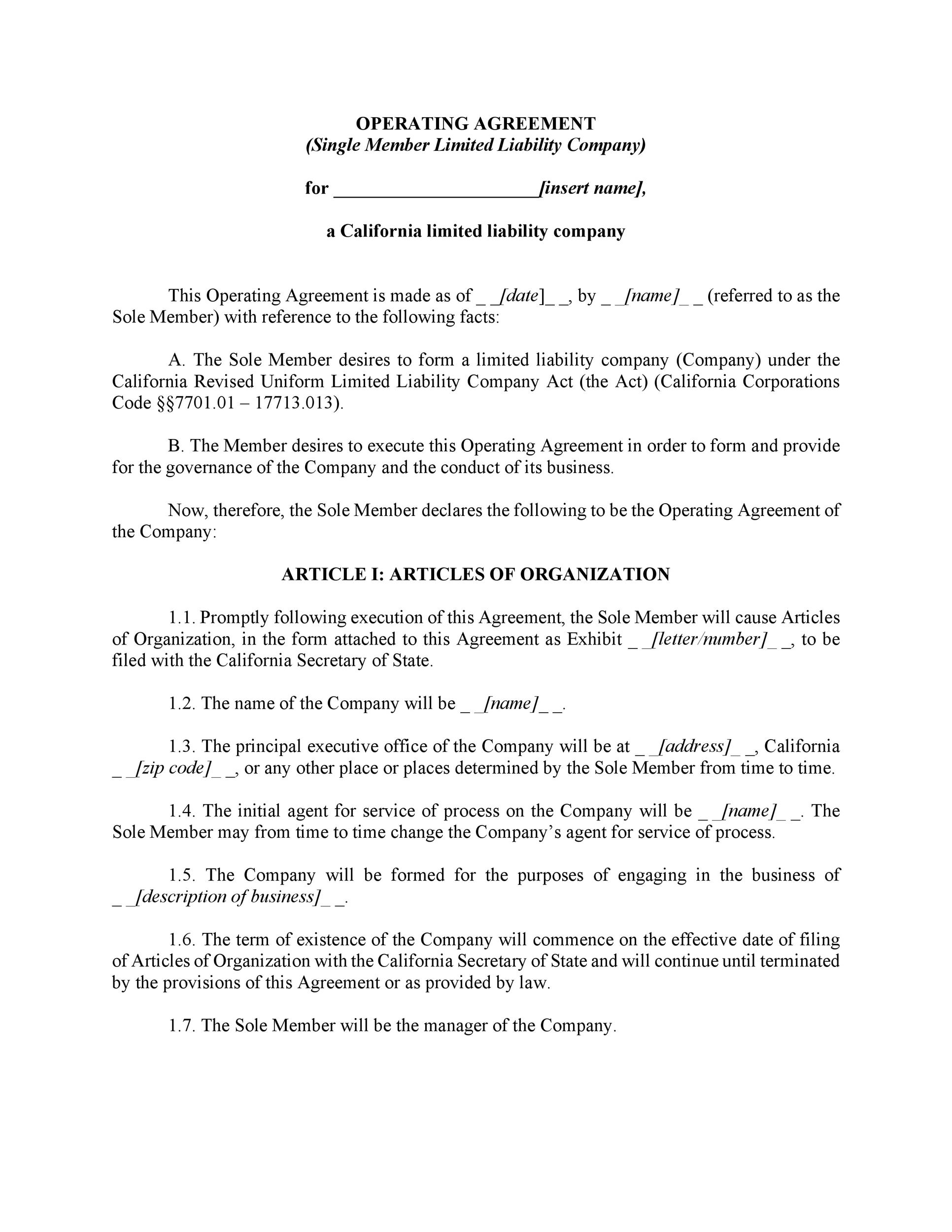 30 Professional LLC Operating Agreement Templates ᐅ Template Lab