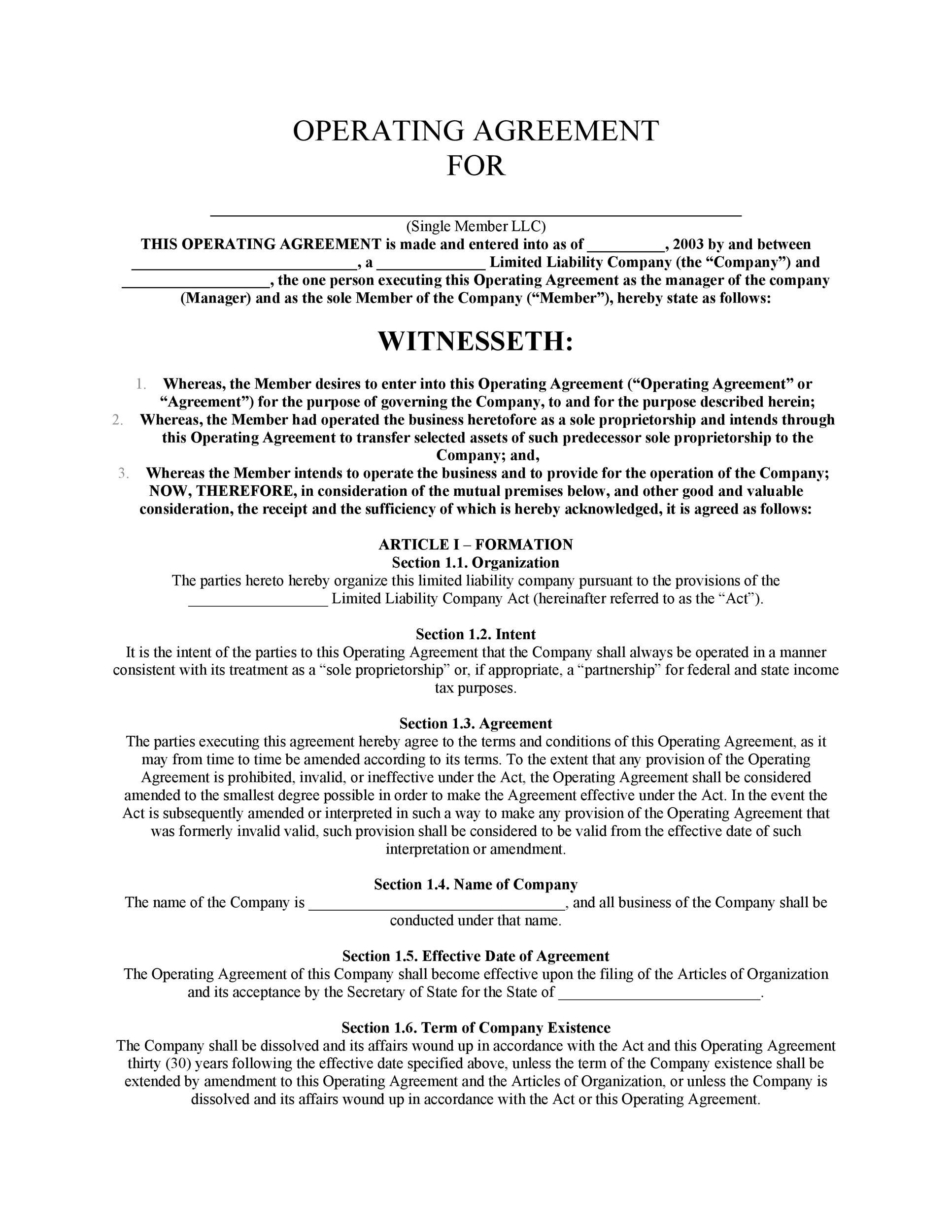 30 Professional LLC Operating Agreement Templates - Template Lab