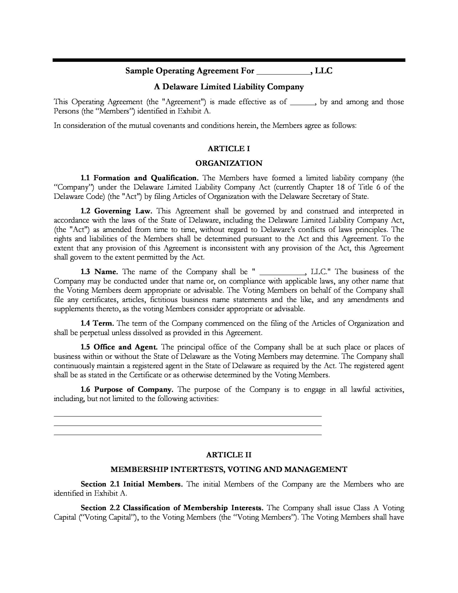30 Professional LLC Operating Agreement Templates ᐅ Template Lab