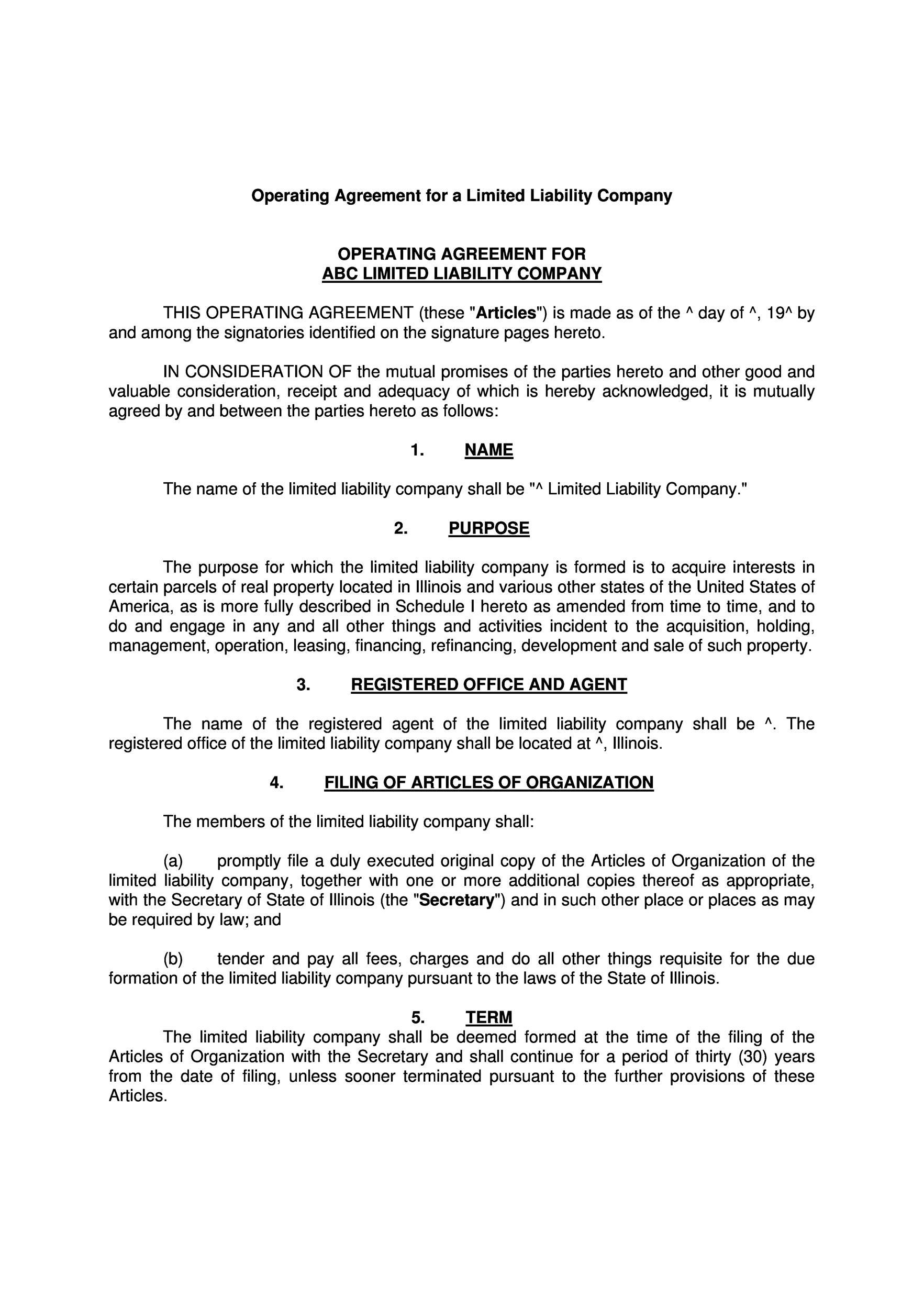 operating agreement template llc - Pinarkubkireklamowe