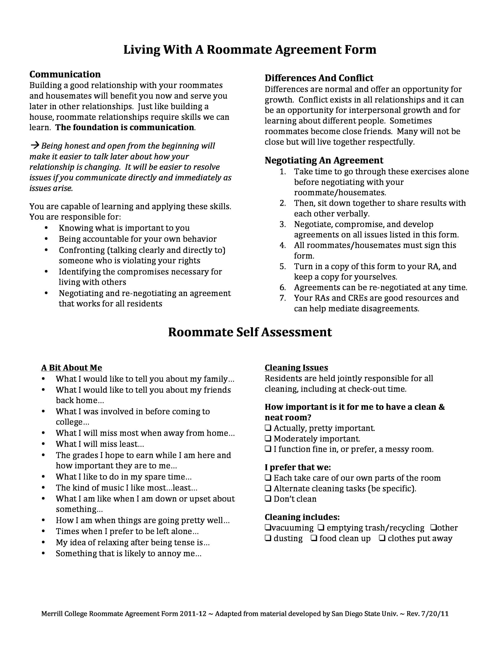 Rental Agreement Template For Roommates Cv Resumes Maker Guide