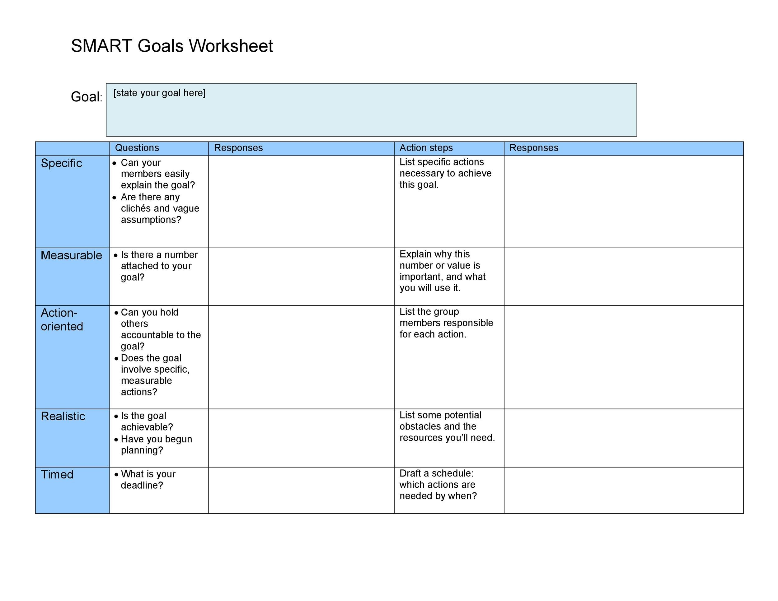 48 SMART Goals Templates, Examples  Worksheets - Template Lab - goal planning template