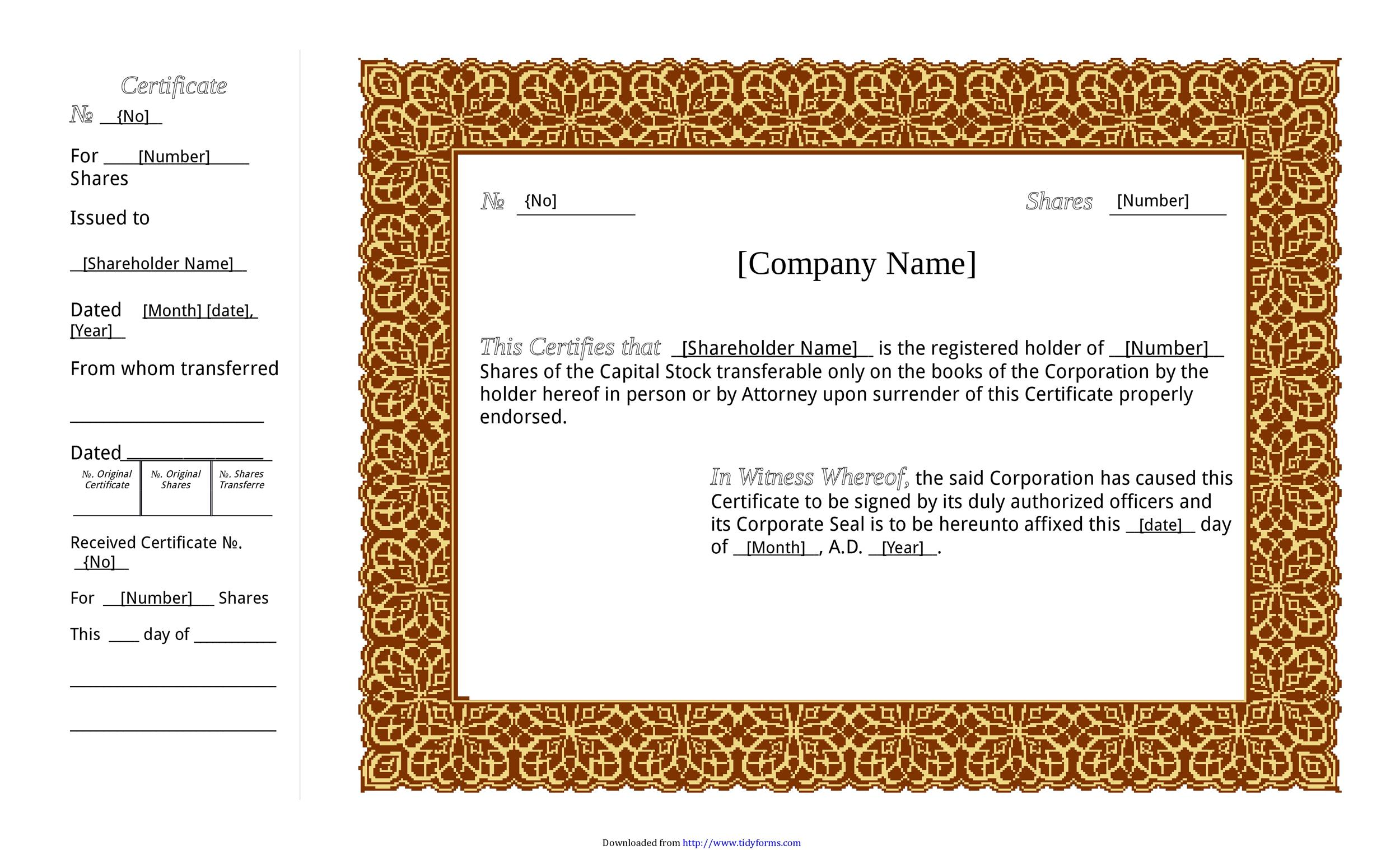 40+ Free Stock Certificate Templates (Word, PDF) - Template Lab - download free templates for word