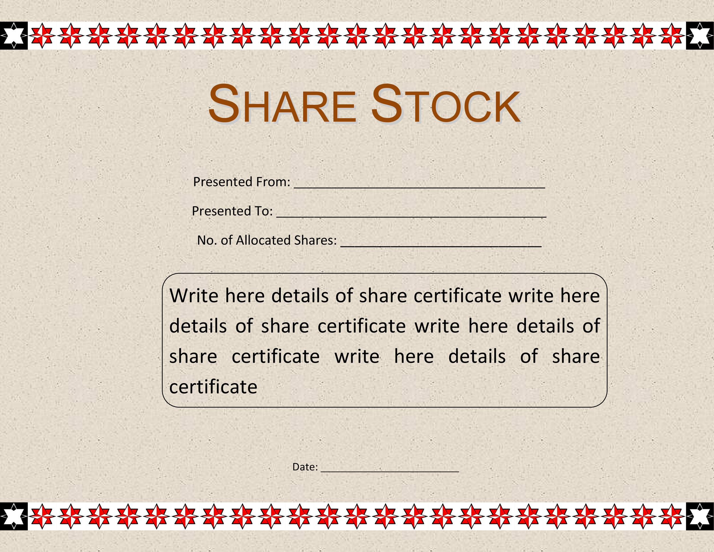 template for share certificate - Onwebioinnovate