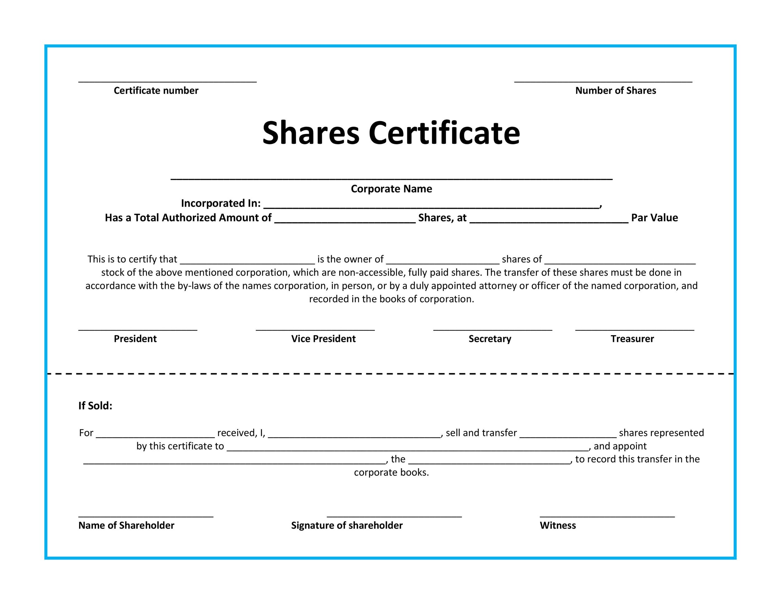 40+ Free Stock Certificate Templates (Word, PDF) - Template Lab - corporate certificate template