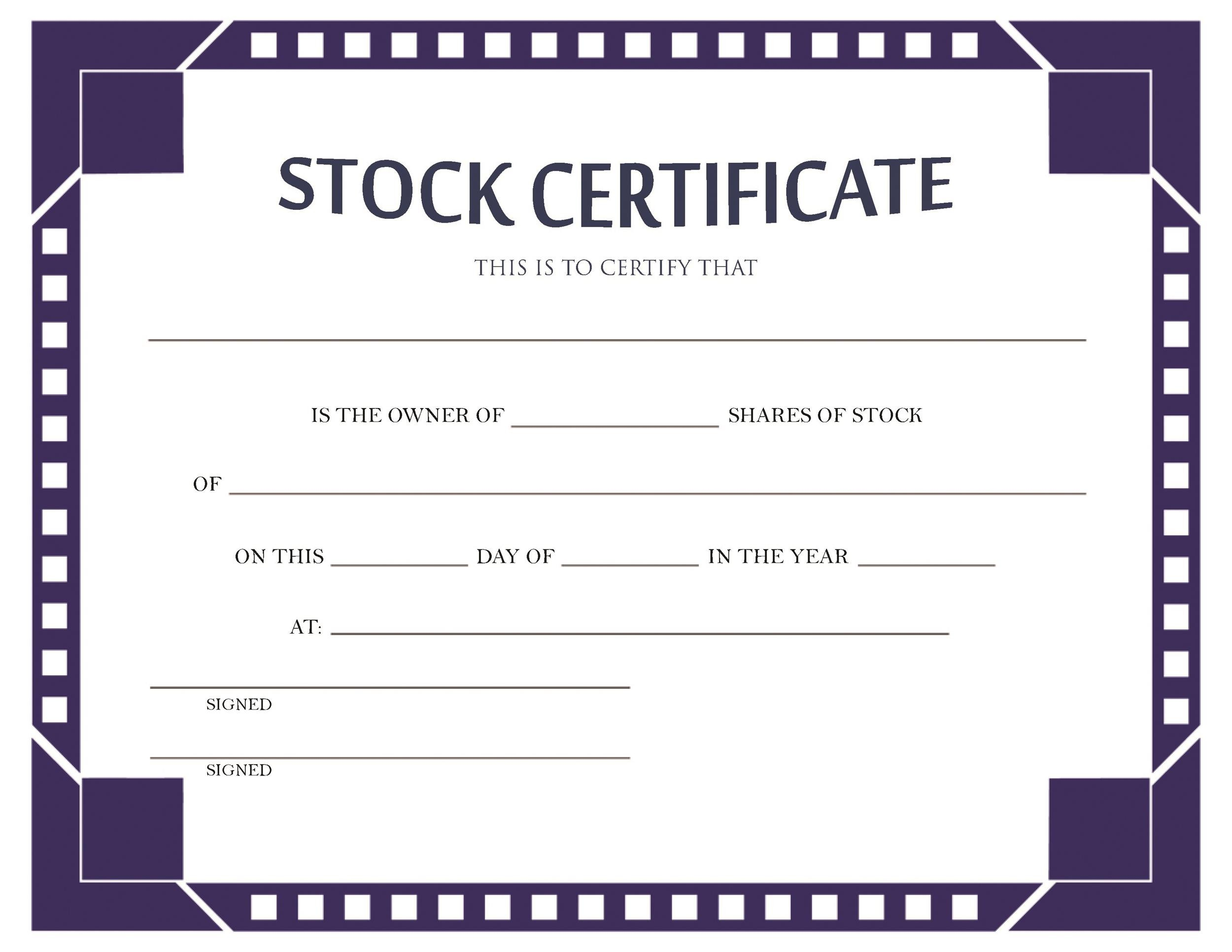 40+ Free Stock Certificate Templates (Word, PDF) ᐅ Template Lab