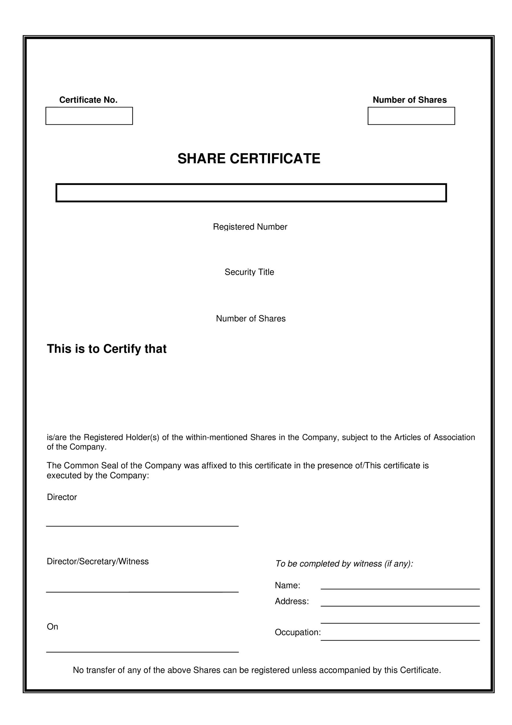 Doc700510 Certificate Format 21 Certificate Templates – Shareholders Certificate Template