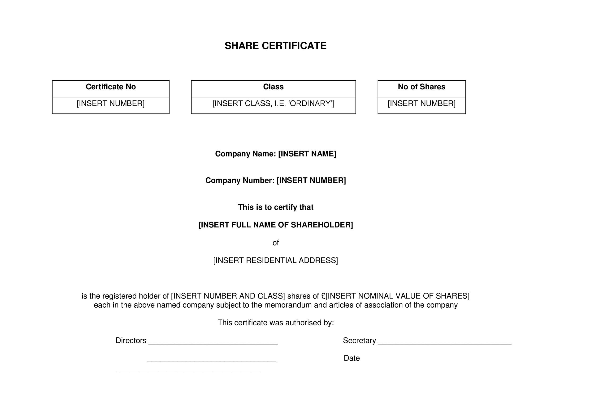 40+ Free Stock Certificate Templates (Word, PDF) - Template Lab - download certificate templates
