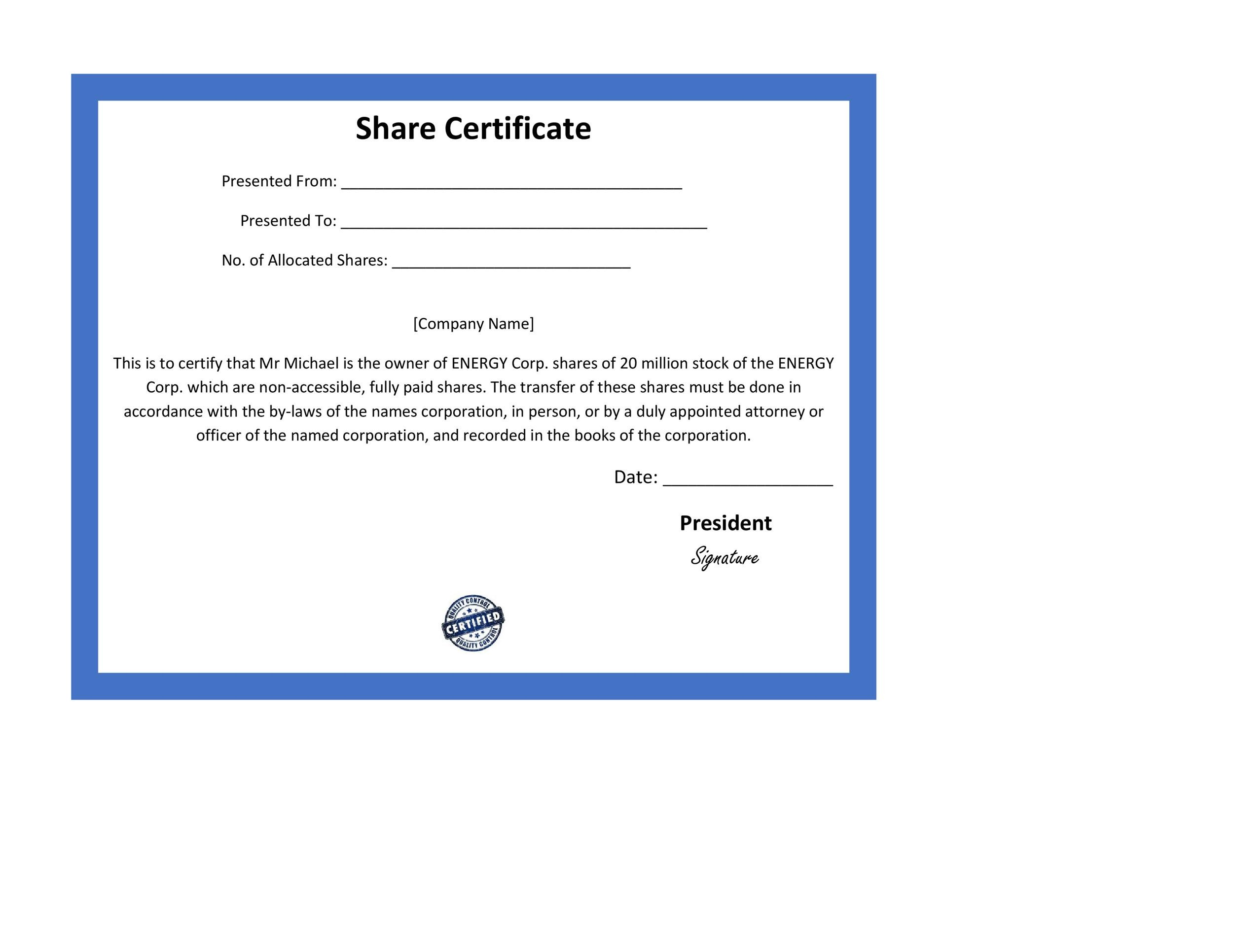 40+ Free Stock Certificate Templates (Word, PDF) - Template Lab - Company Share Certificates