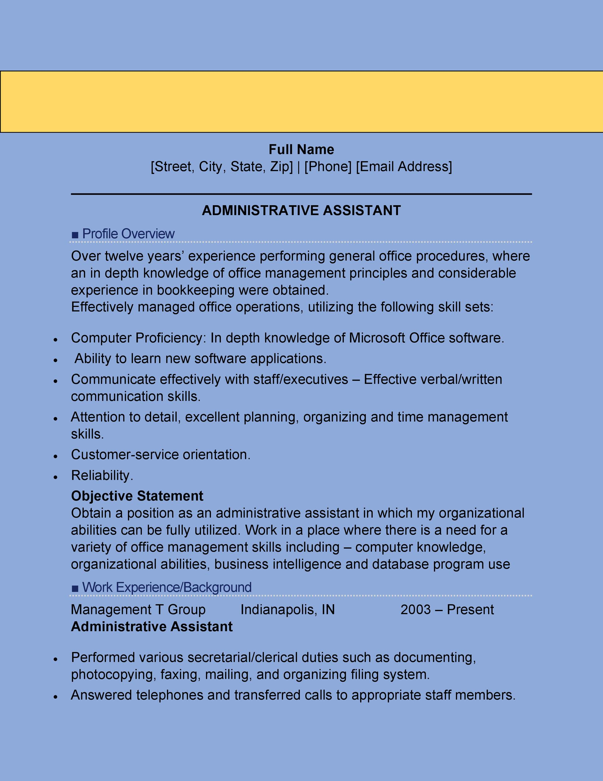 20+ Free Administrative Assistant Resume Samples - Template Lab - resume templates for administrative assistant