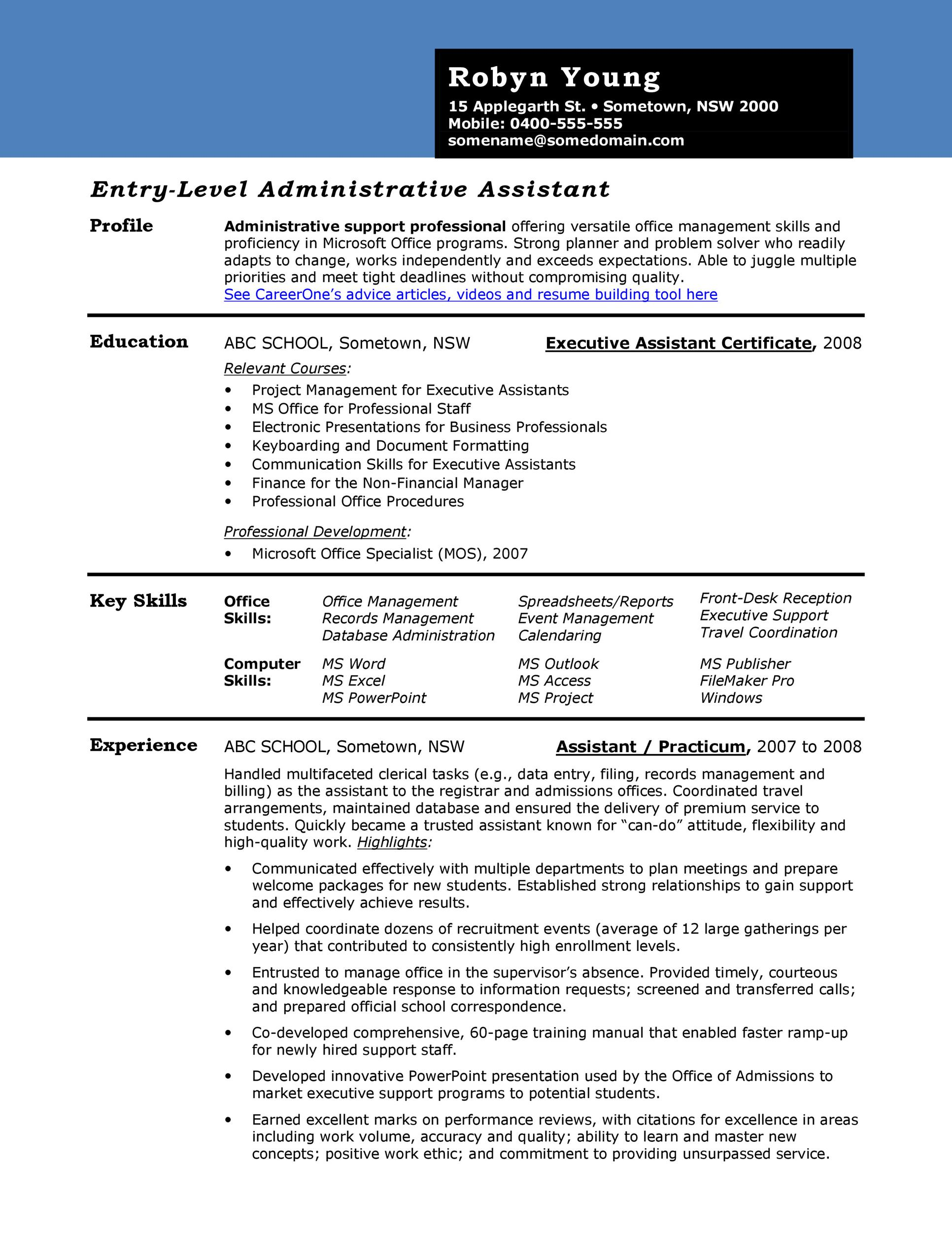 administrative assistant resume samples 2016