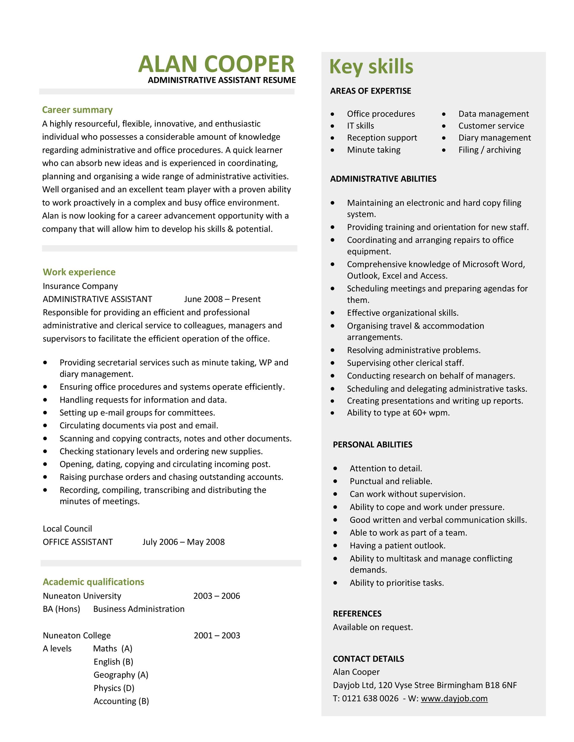 administrative assitant resume template