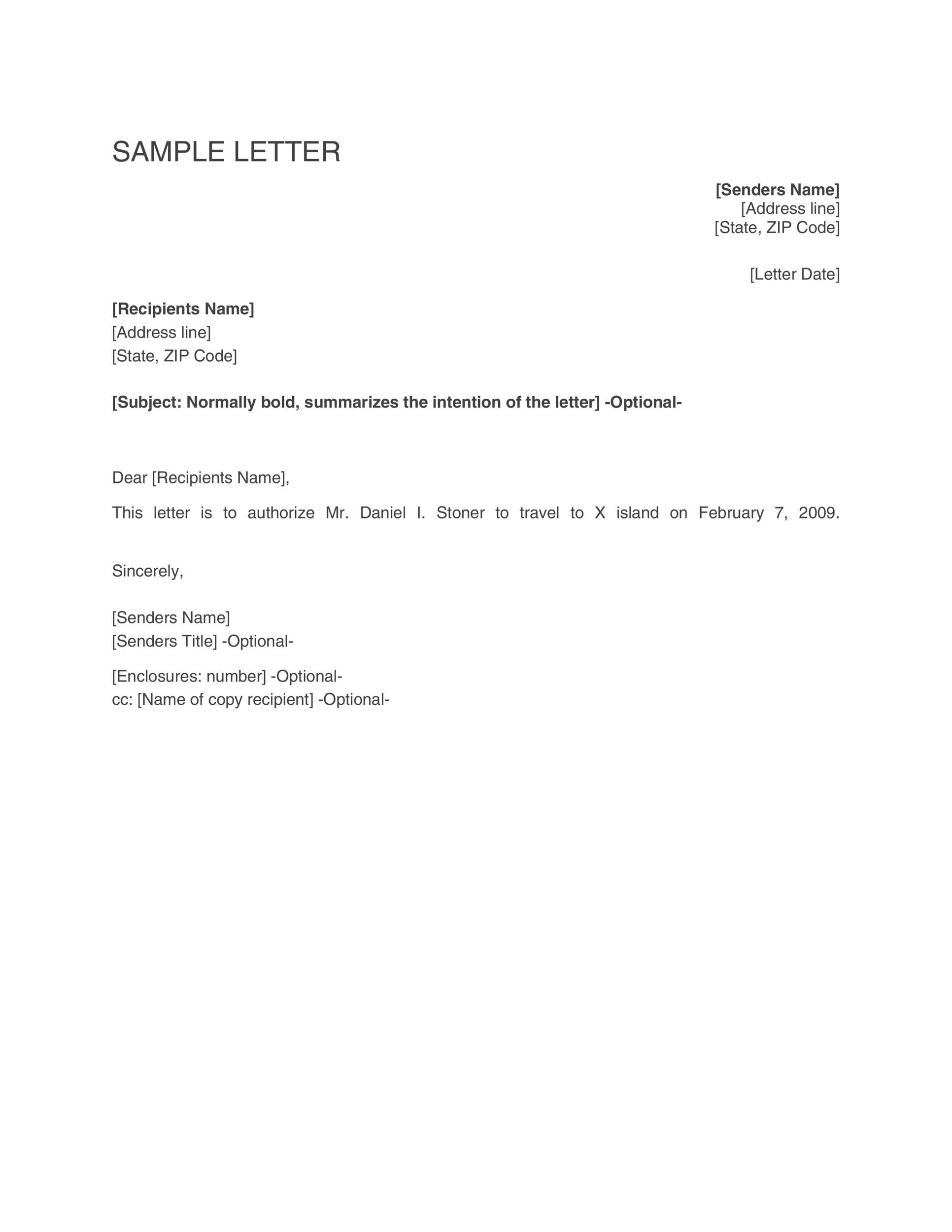 46 Authorization Letter Samples  Templates - Template Lab - permission to travel letter template