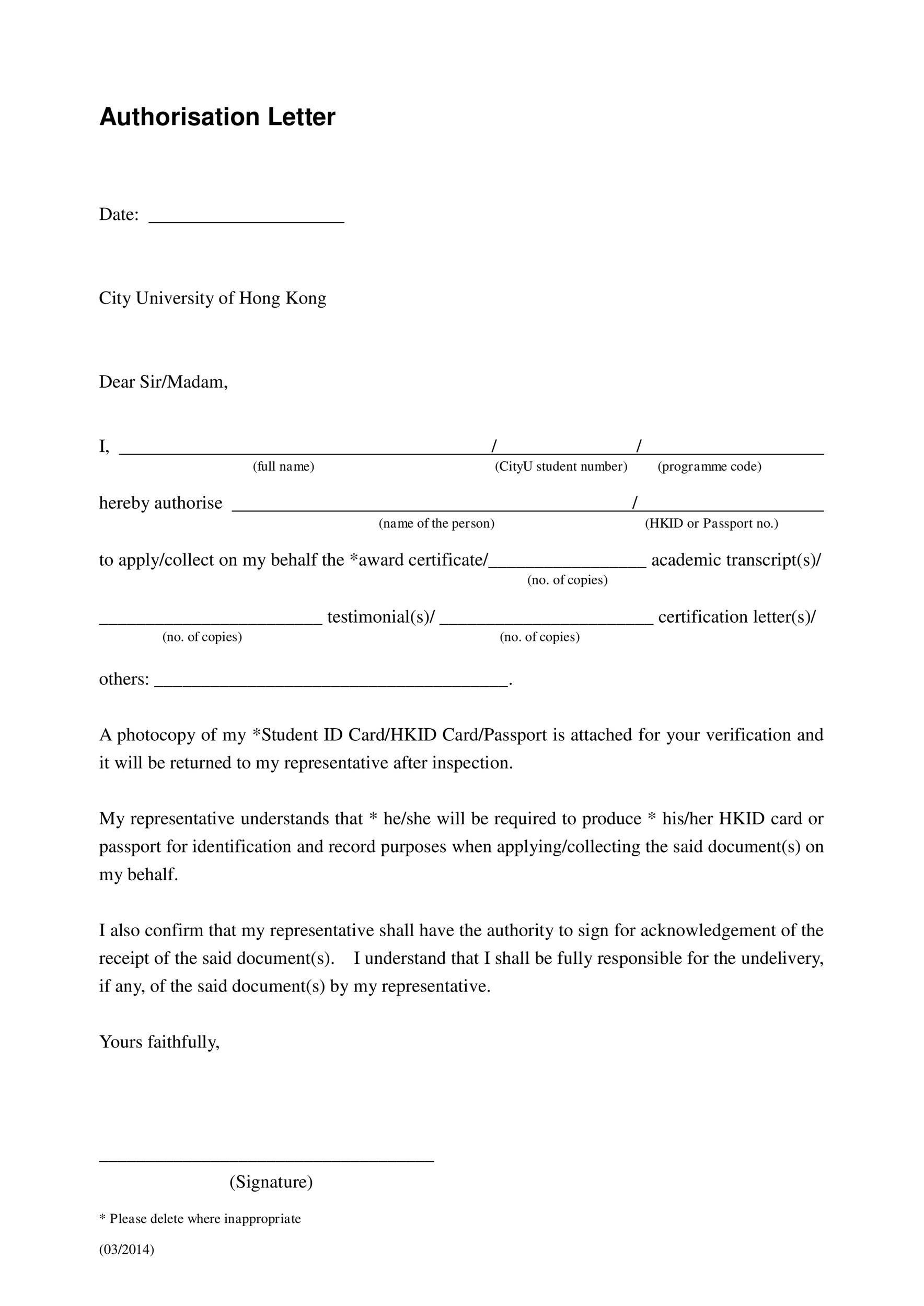 46 Authorization Letter Samples  Templates ᐅ Template Lab