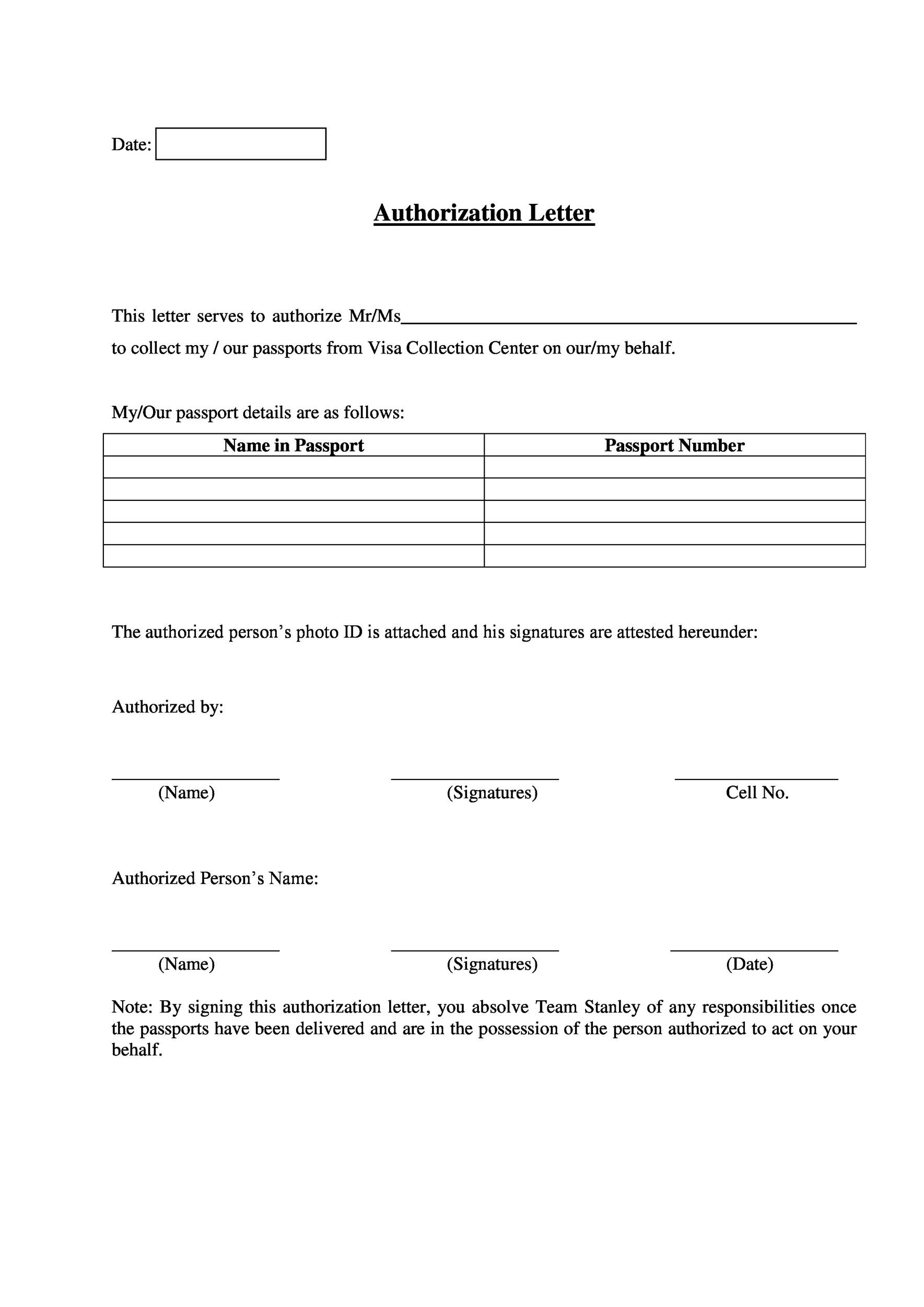 46 Authorization Letter Samples  Templates - Template Lab - passport authorization letter