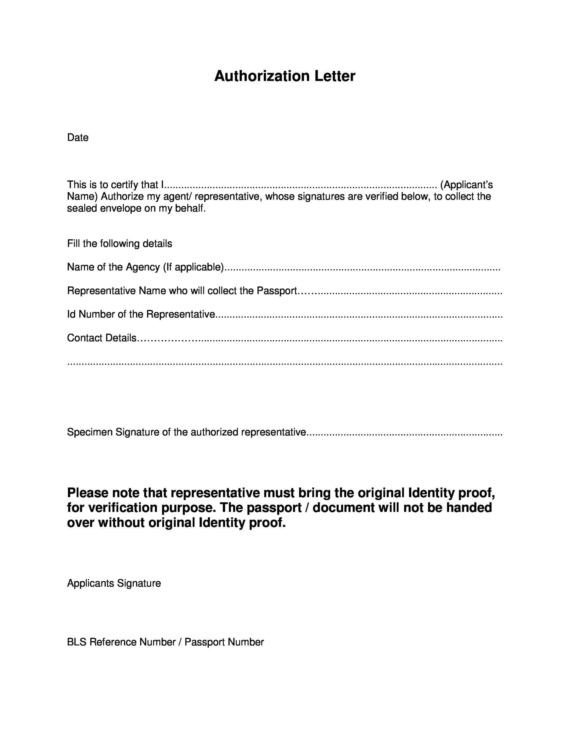 46 Authorization Letter Samples  Templates - Template Lab - letters of authorization