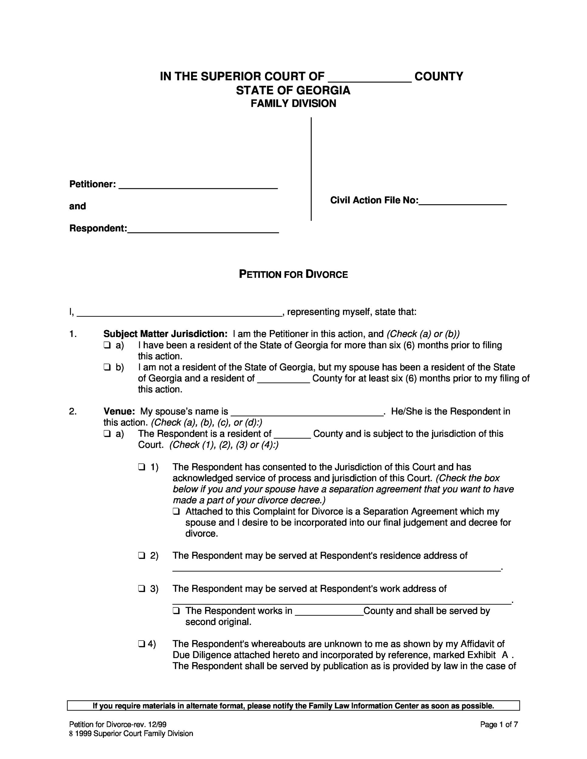 40 Free Divorce Papers (Printable) - Template Lab - sample divorce agreement