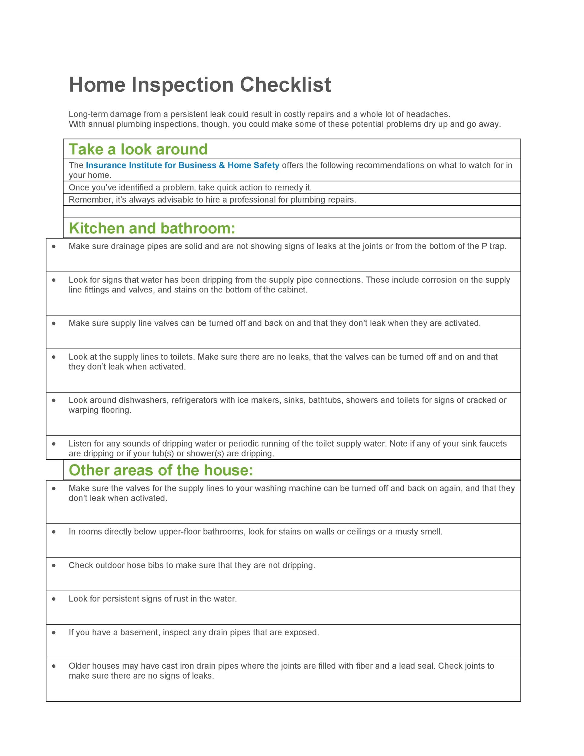 20+ Printable Home Inspection Checklists (Word, PDF) - Template Lab - sample home inspection checklist
