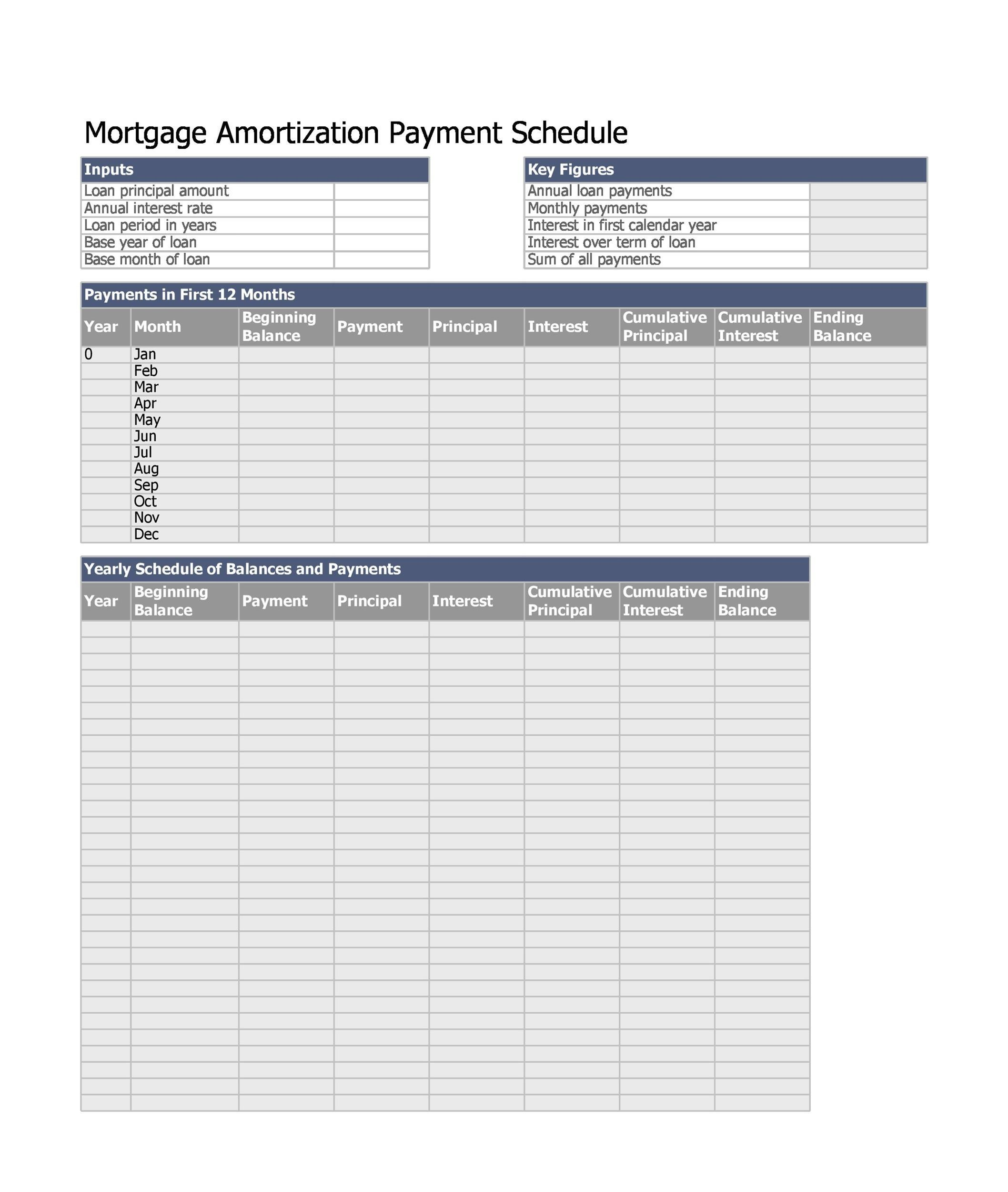 28 Tables to Calculate Loan Amortization Schedule (Excel) - Template Lab - monthly payment template