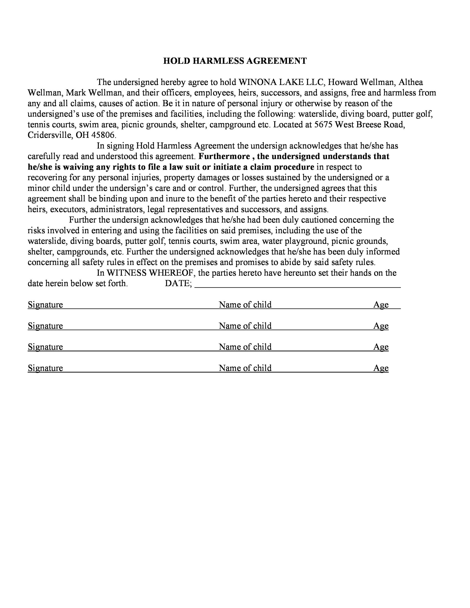 Simple Hold Harmless Agreement Free Liability Waiver Form