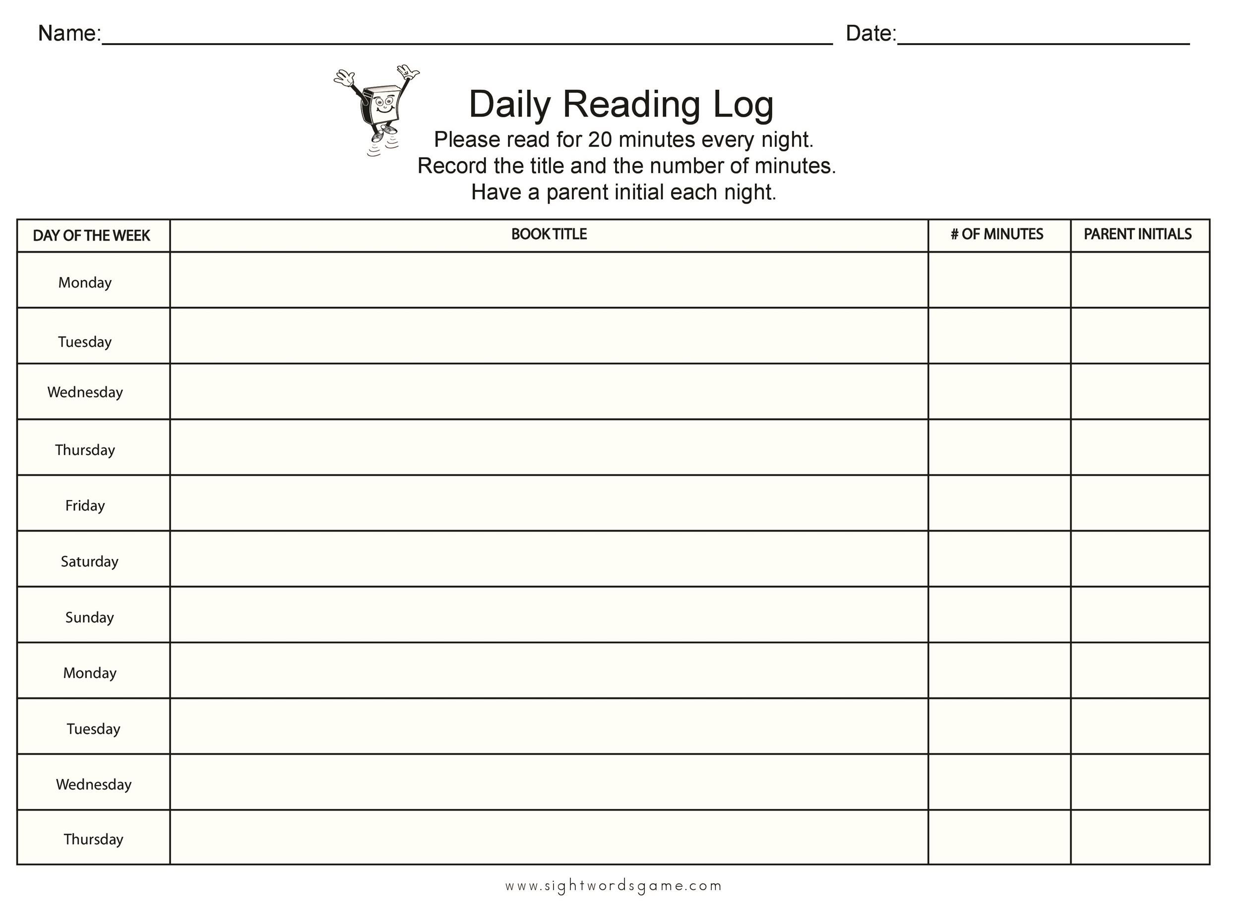 47 Printable Reading Log Templates for Kids, Middle School  Adults