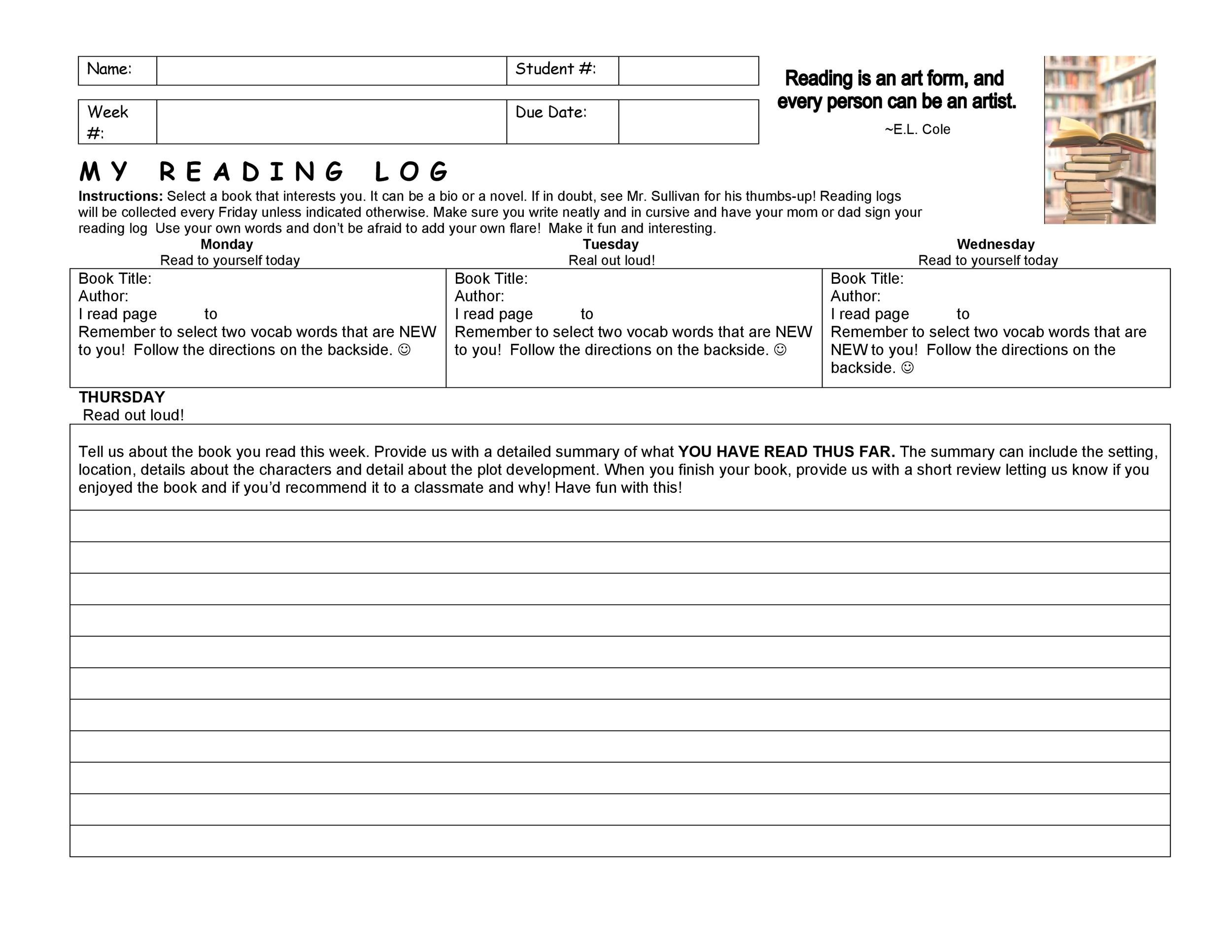 47 Printable Reading Log Templates for Kids, Middle School  Adults - Reading Log Template