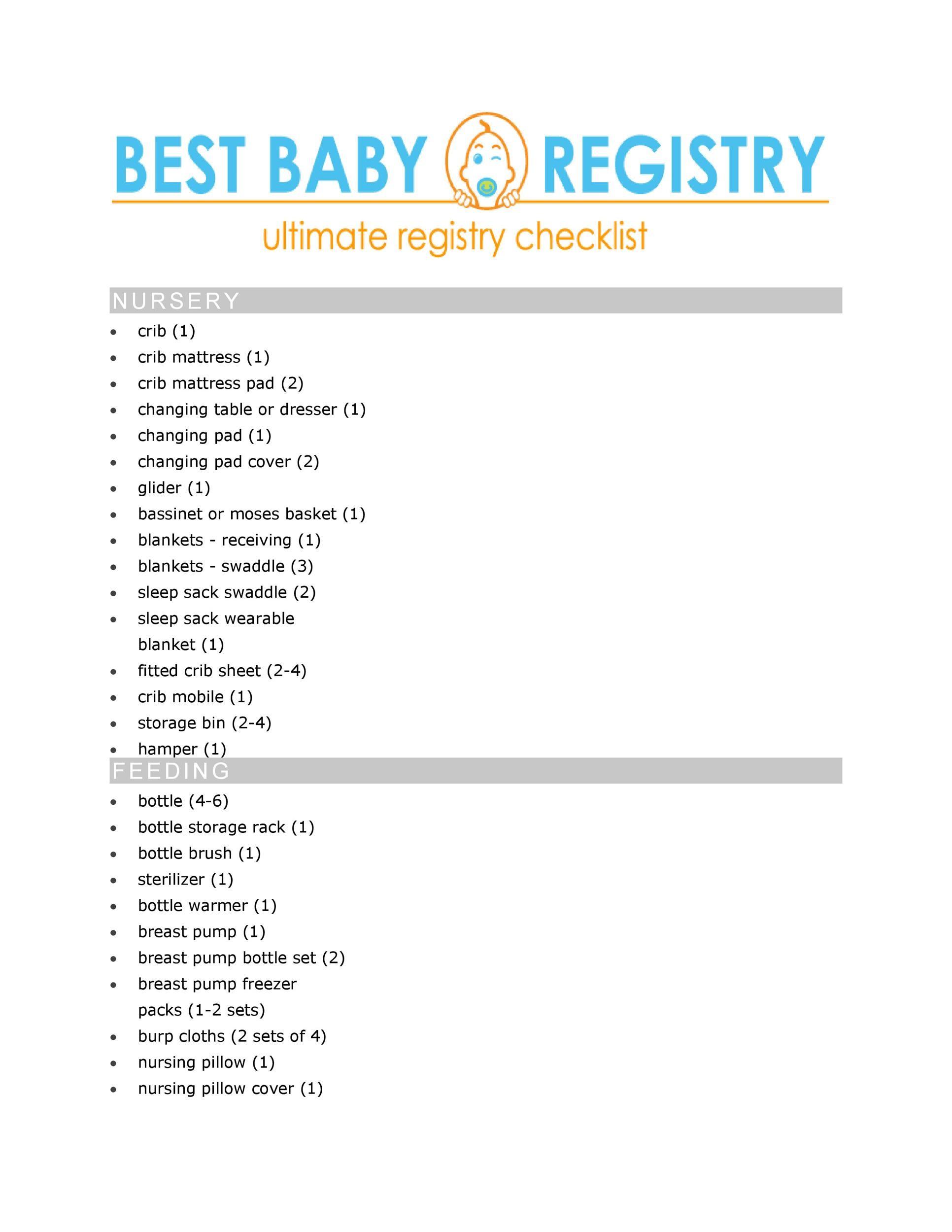 30+ Baby Registry Checklists (Newborn Baby Checklists) - Template Lab