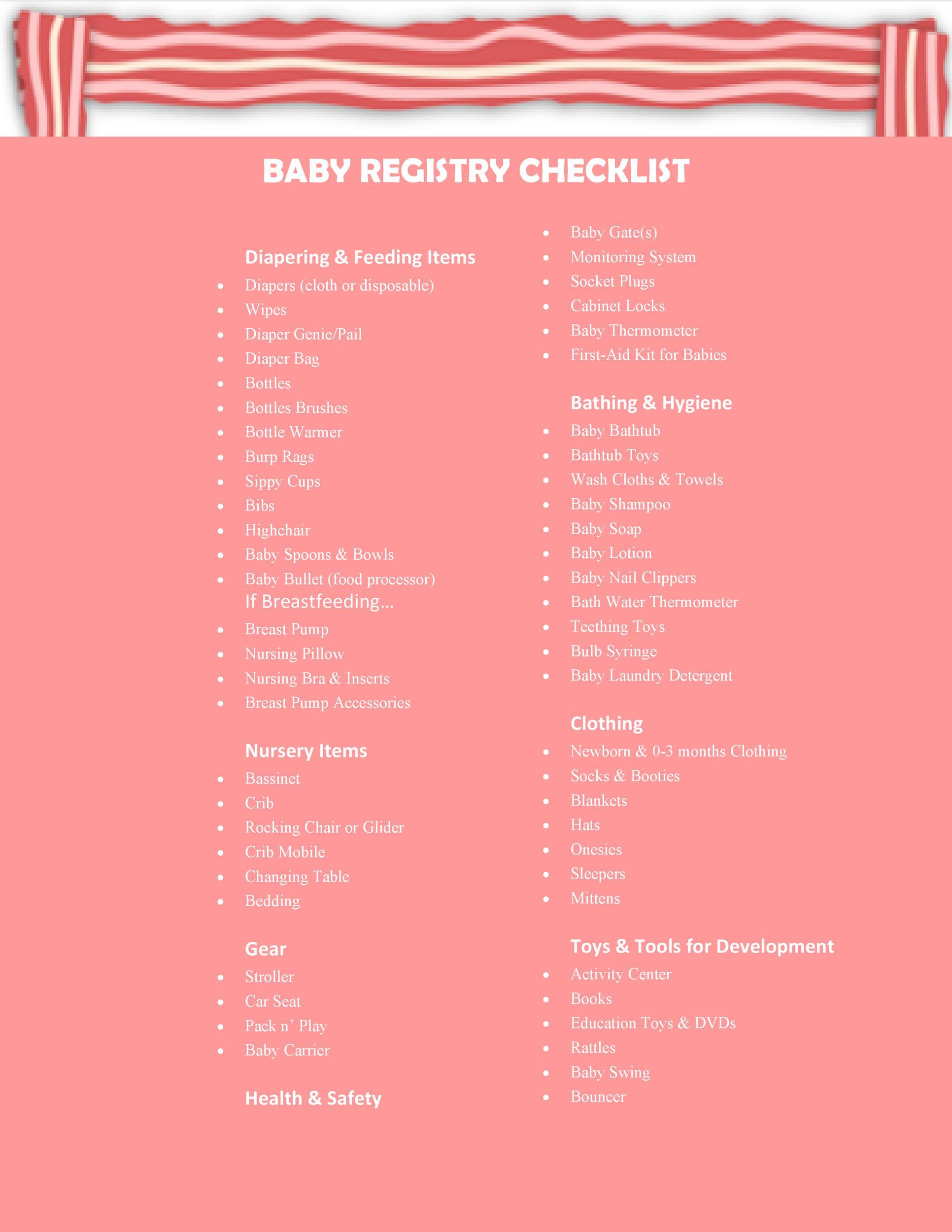 30+ Baby Registry Checklists (Newborn Baby Checklists) ᐅ Template Lab