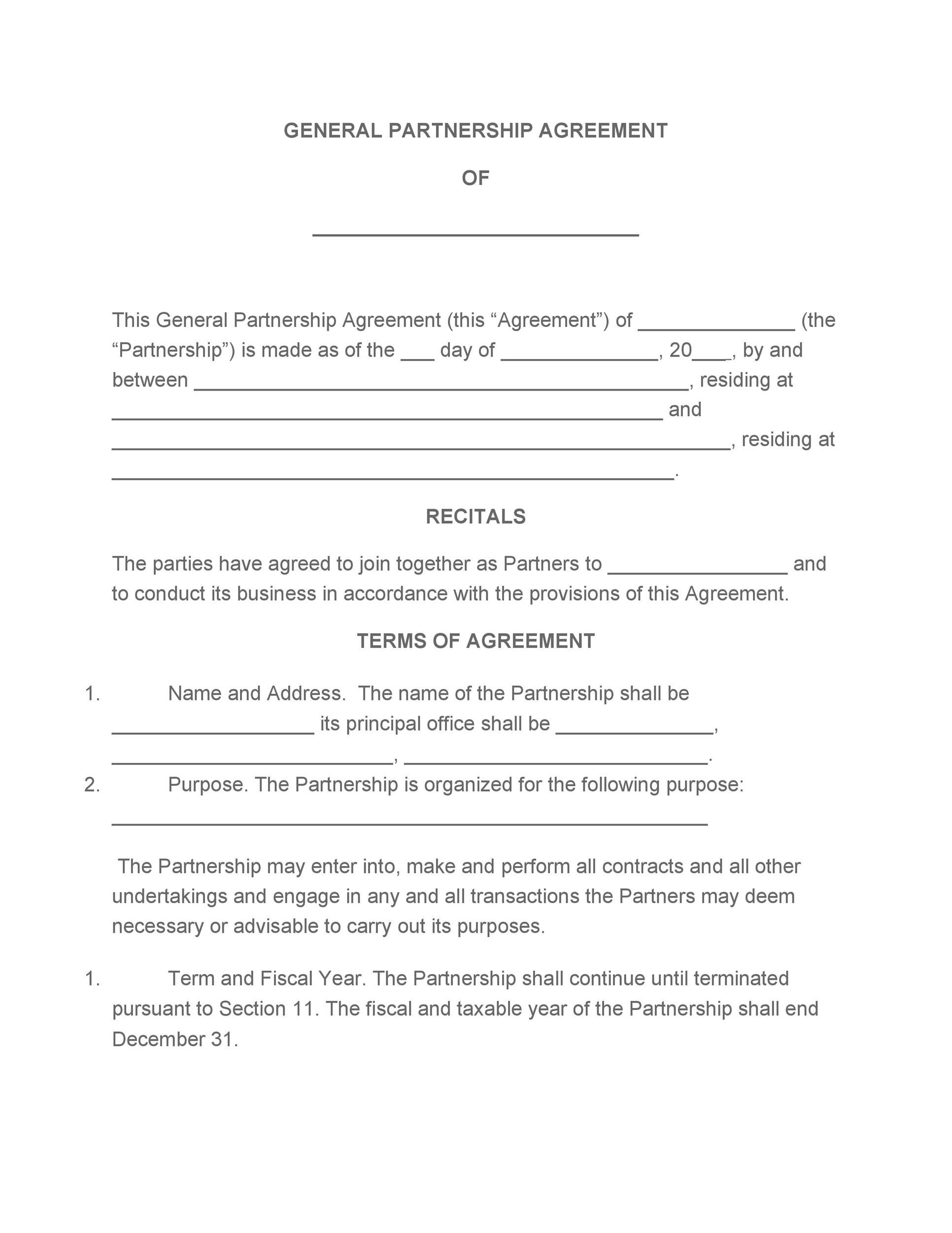 40+ FREE Partnership Agreement Templates (Business, General)