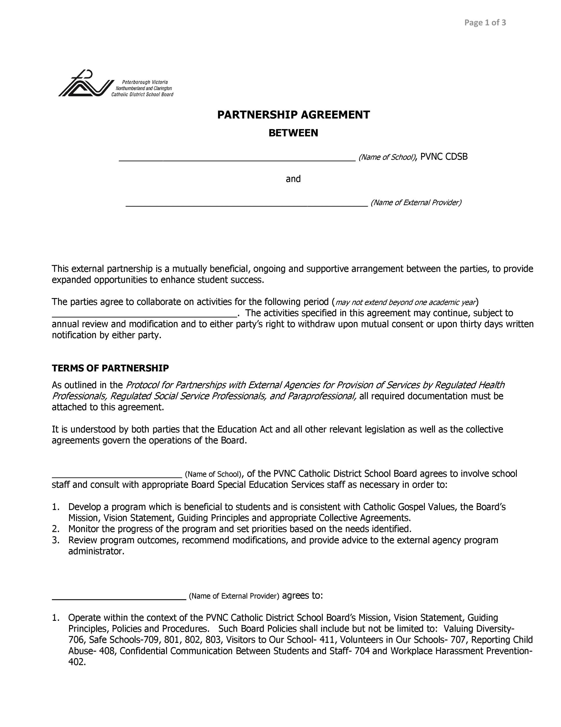 40+ FREE Partnership Agreement Templates (Business, General) - Partnership Agreement Format