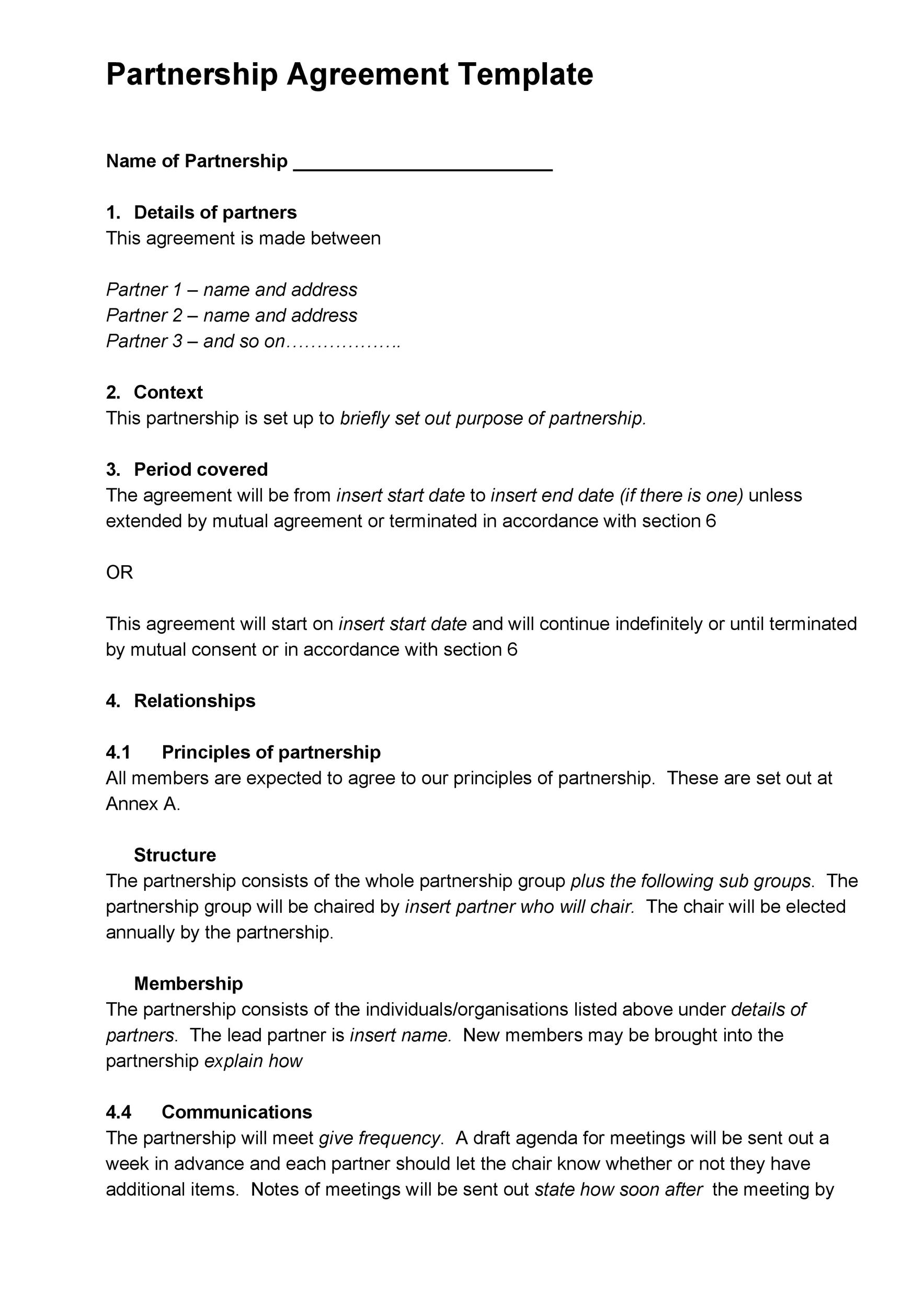 40+ FREE Partnership Agreement Templates (Business, General) - mutual agreement contract sample
