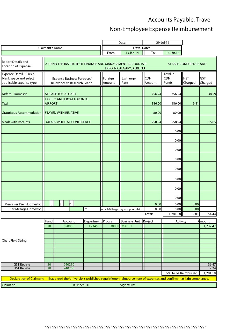 free expense reports forms