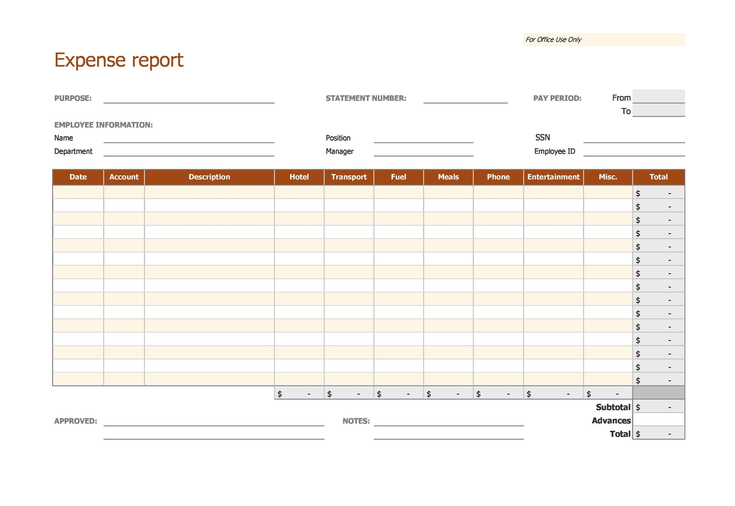 40+ Expense Report Templates to Help you Save Money - Template Lab - generic expense report