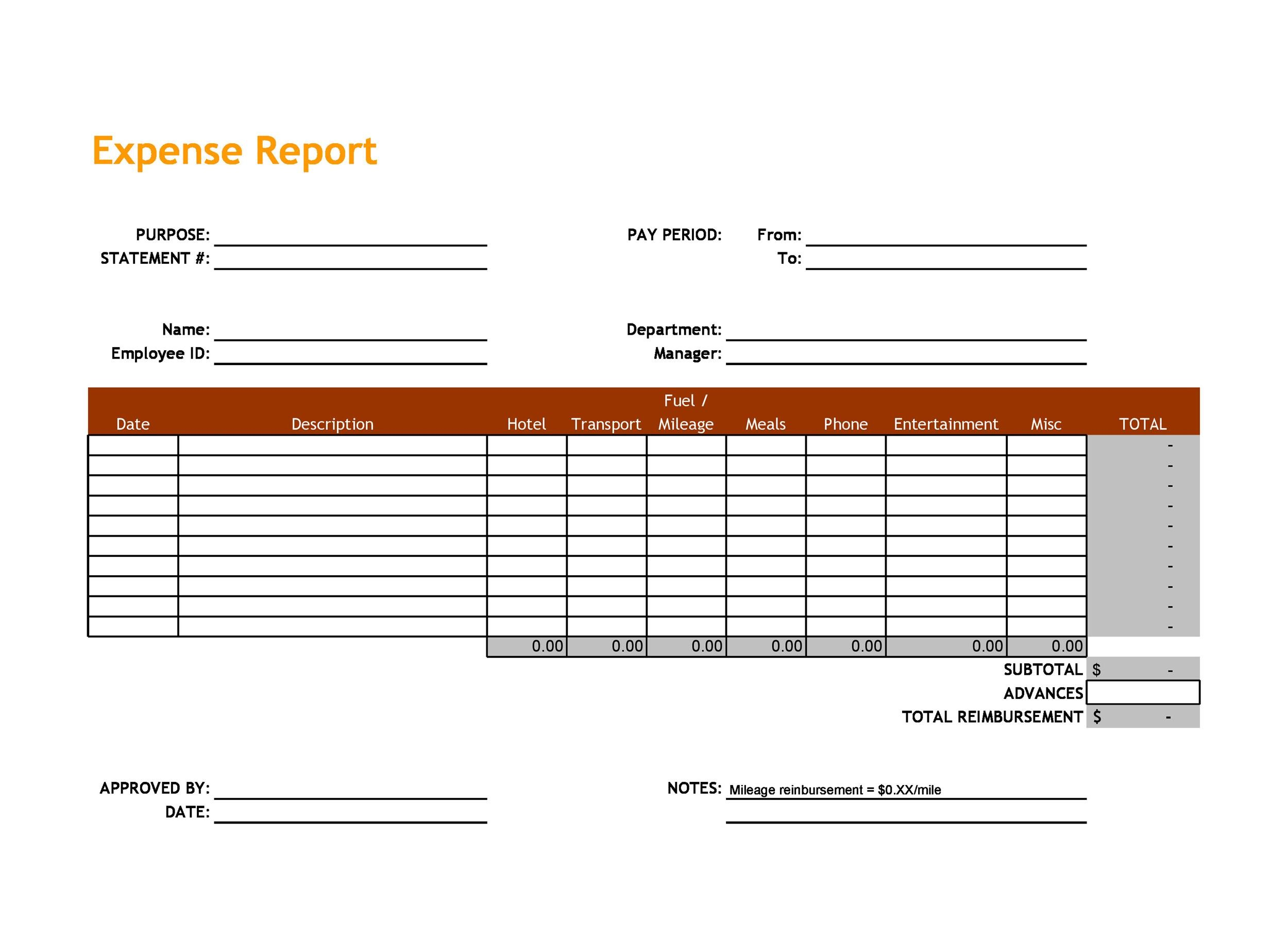 40+ Expense Report Templates to Help you Save Money - Template Lab - expense report template free