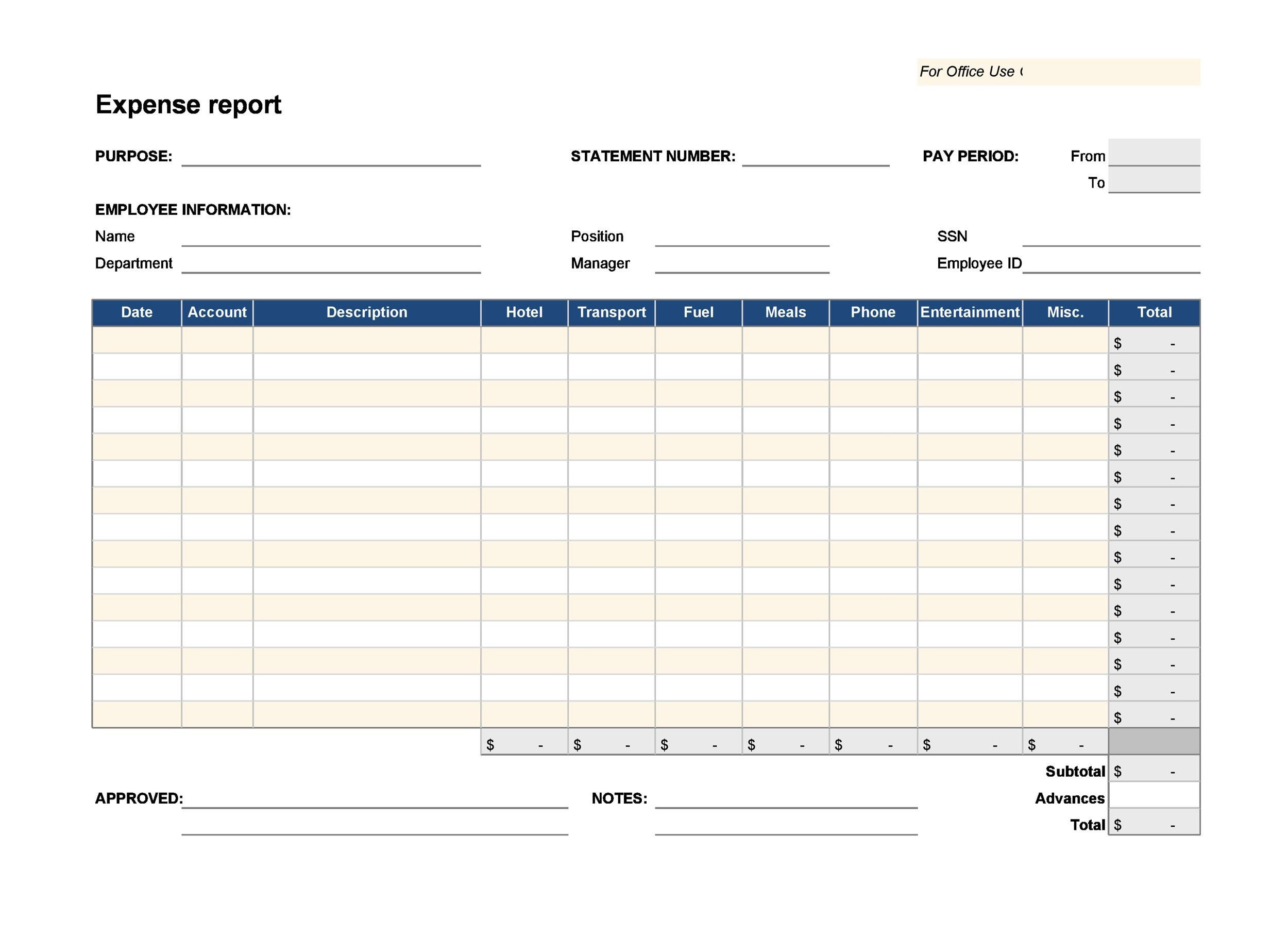 40+ Expense Report Templates to Help you Save Money - Template Lab - printable expense report