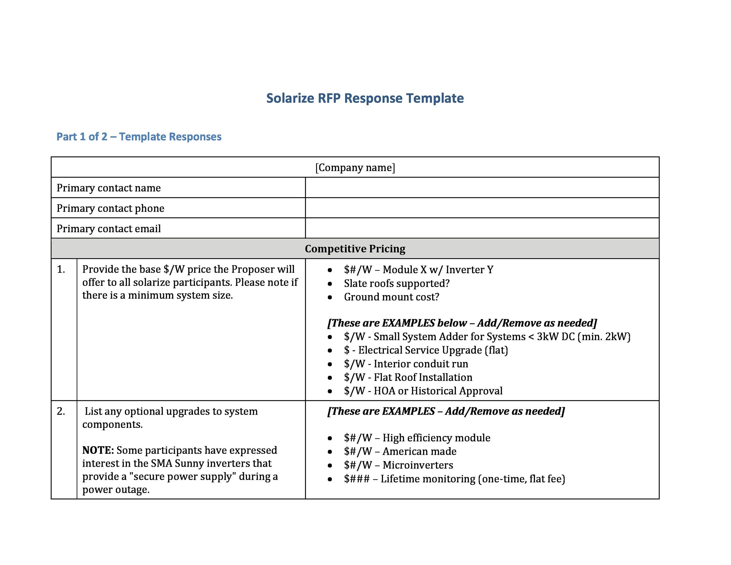 40+ Best Request for Proposal Templates  Examples (RPF Templates) - Cost Proposal Templates
